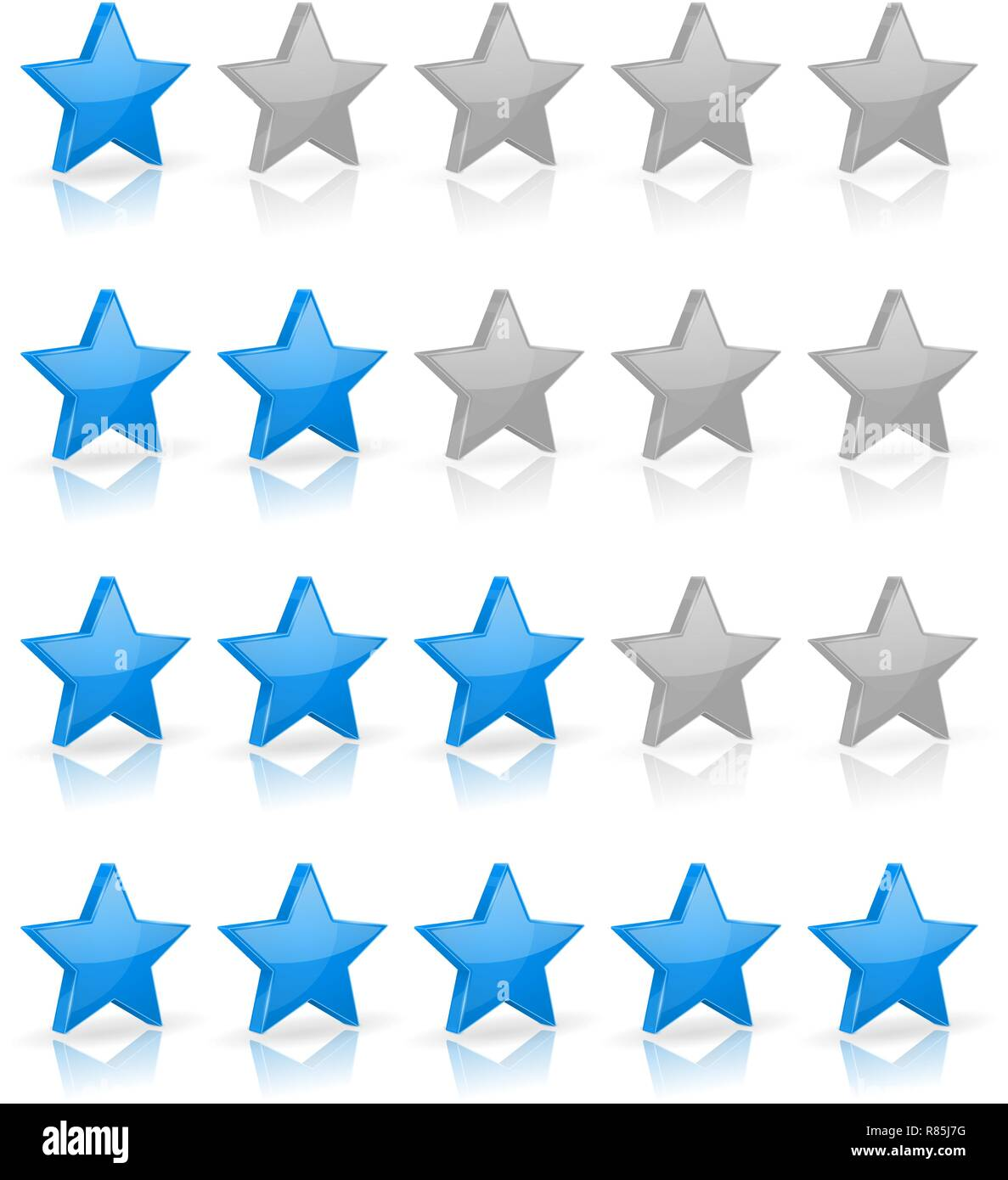 Blue stars. Rating levels - Stock Image