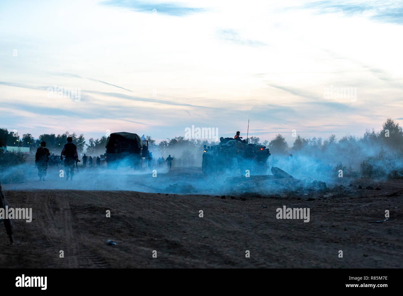 Army soldiers during the military operation. war, army, technology and people concept Stock Photo