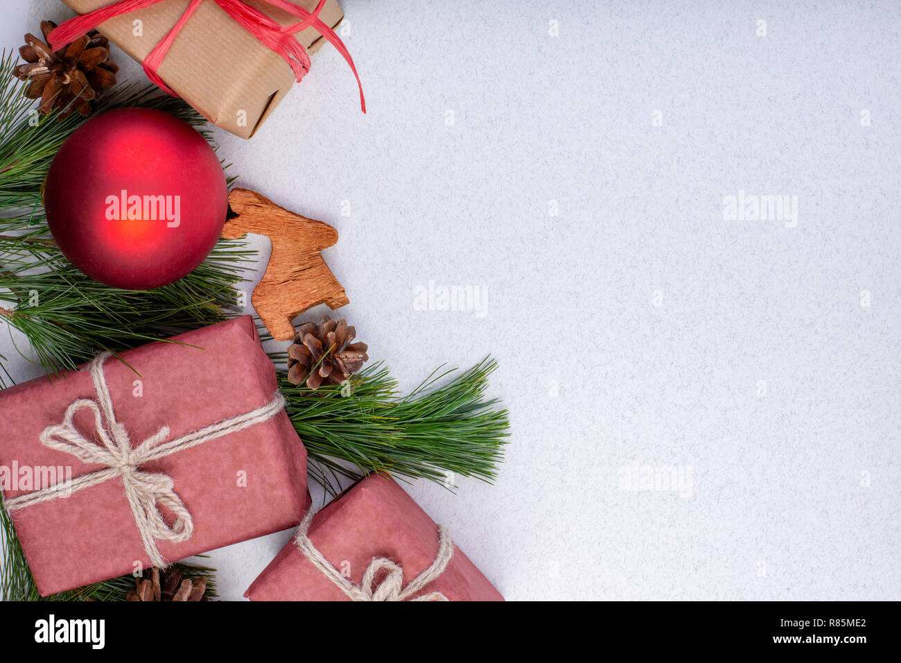 Christmas Composition Christmas White Decorations Fir Tree