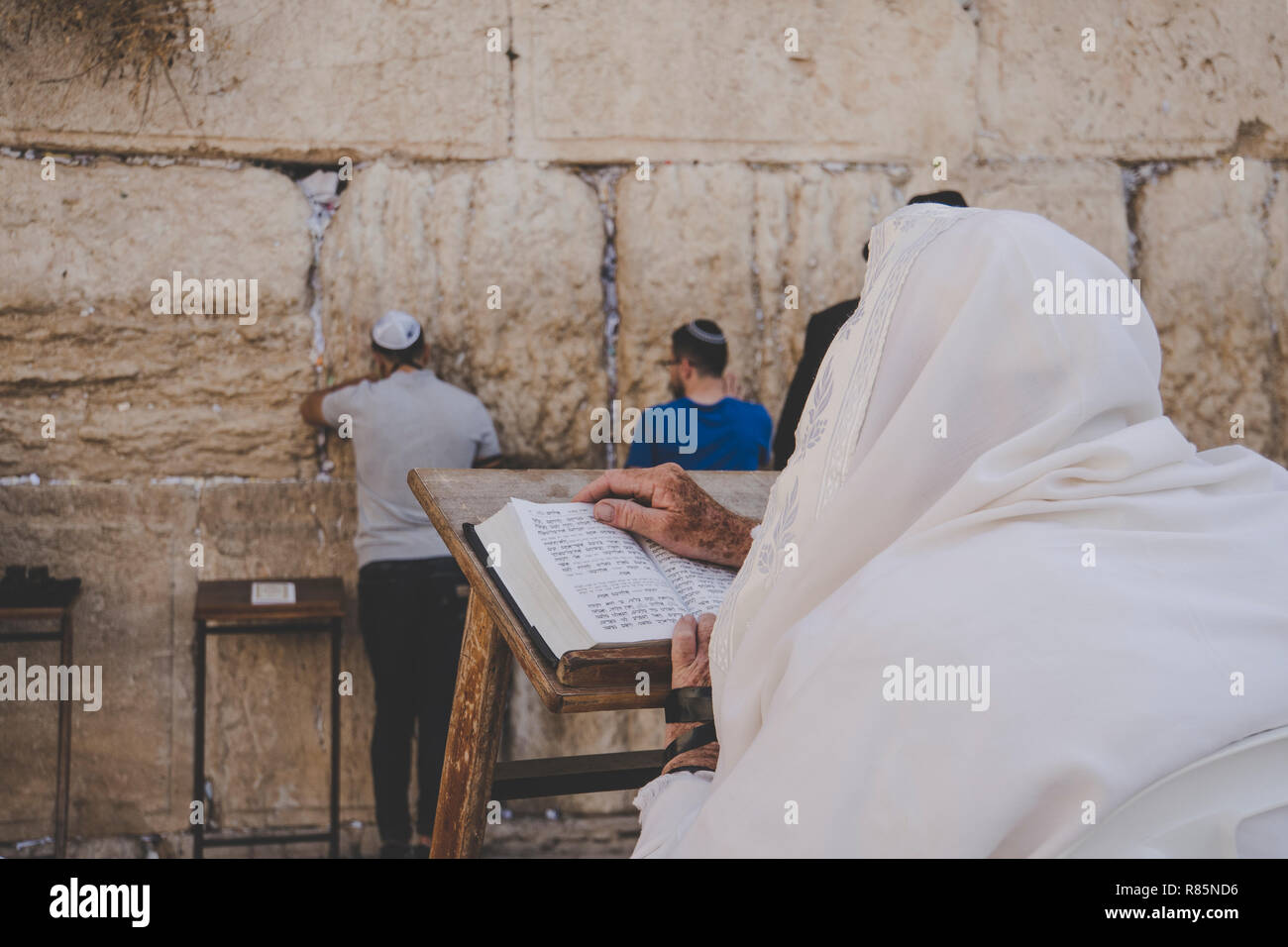 Religious orthodox jew praying at the Western wall and reads the Torah in Jerusalem old city. - Stock Image