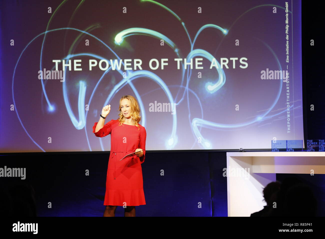 Berlin, Germany. 12th Dec 2018. Moderator Petra Gute. On the 12th of December the solemn award ceremony of the initiative 'The Power of the Arts' takes place for the second time in Berlin. With 200,000 euros it is the highest endowed prize for cultural participation in Germany.  Migrantpolitan on Kampnagel and the literary portal Weiter Schreiben. You will receive 50,000 euros each. Credit: SAO Struck/Alamy Live News - Stock Image