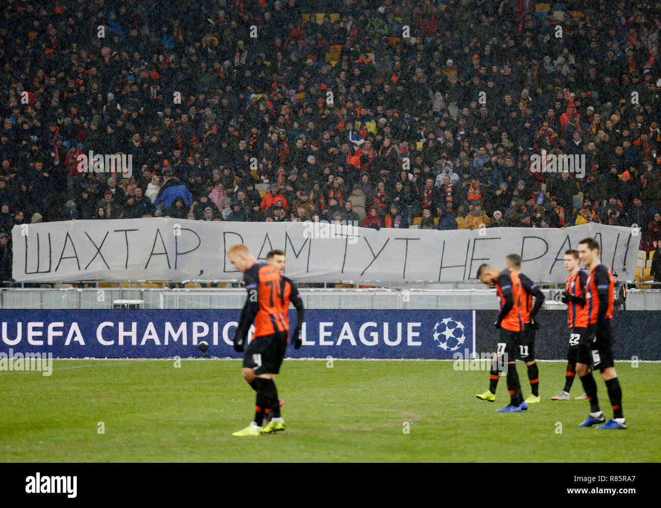 0ad5af639b A banner saying Shakhtar is not welcomed here seen before the UEFA Champions  League Group F