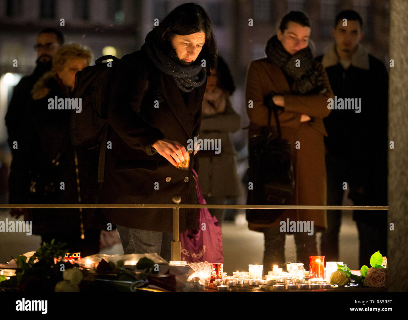 Strasbourg France 12th Dec 2018 A Mourner Seen Depositing A