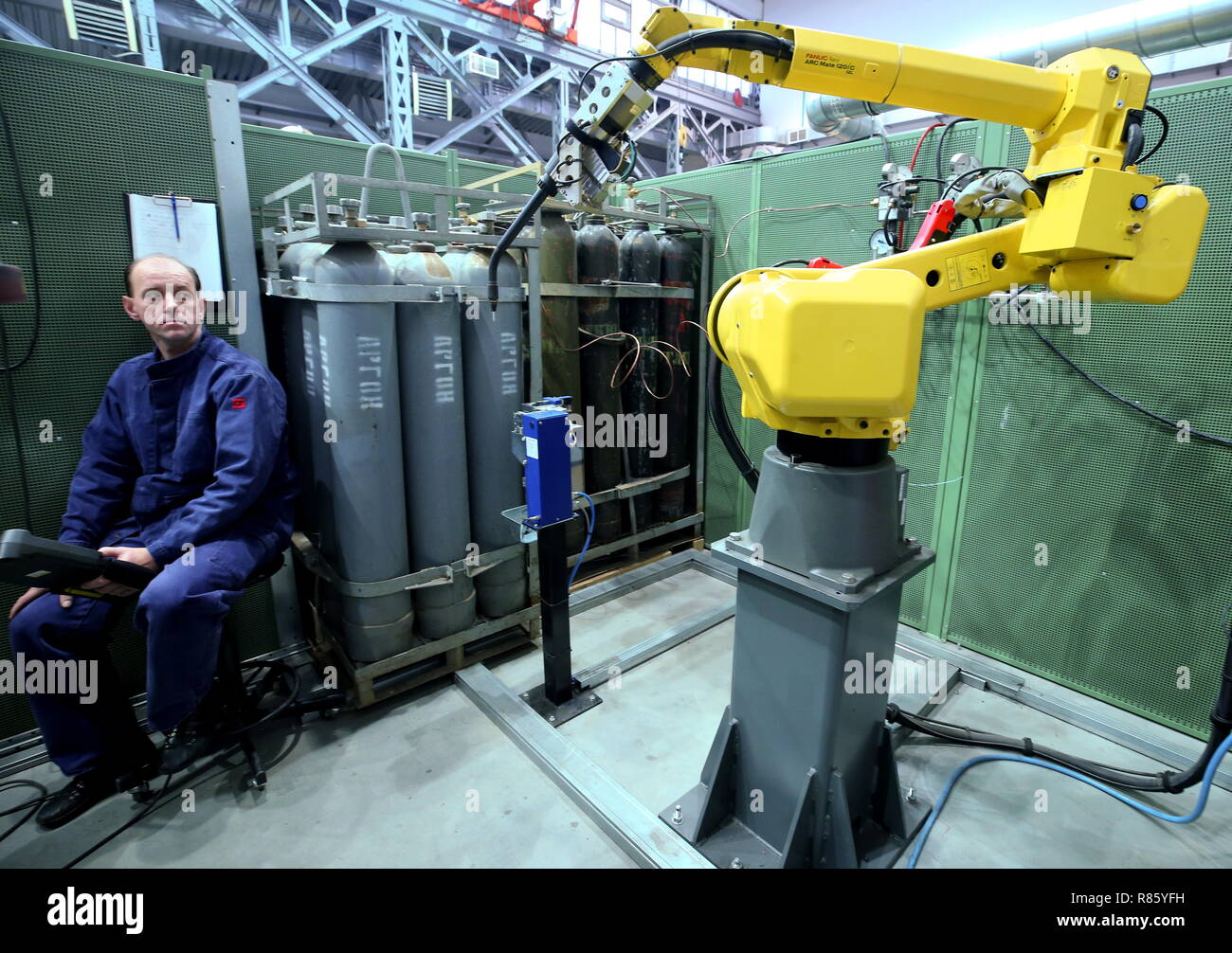ST PETERSBURG, RUSSIA - DECEMBER 13, 2018: A worker of the