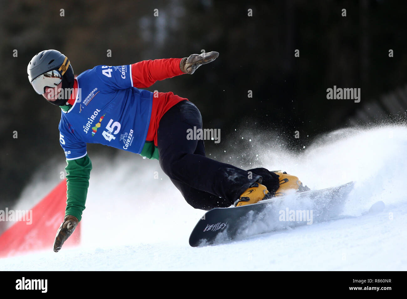 Val di Fassa, Trentino, Italy. 13th December 2018, Carezza, Val di Fassa, Trentino, Italy; FIS Snowboarding World Cup; Parallel Giant Slalom, Chris De Olivera POR Credit: Action Plus Sports Images/Alamy Live News - Stock Image