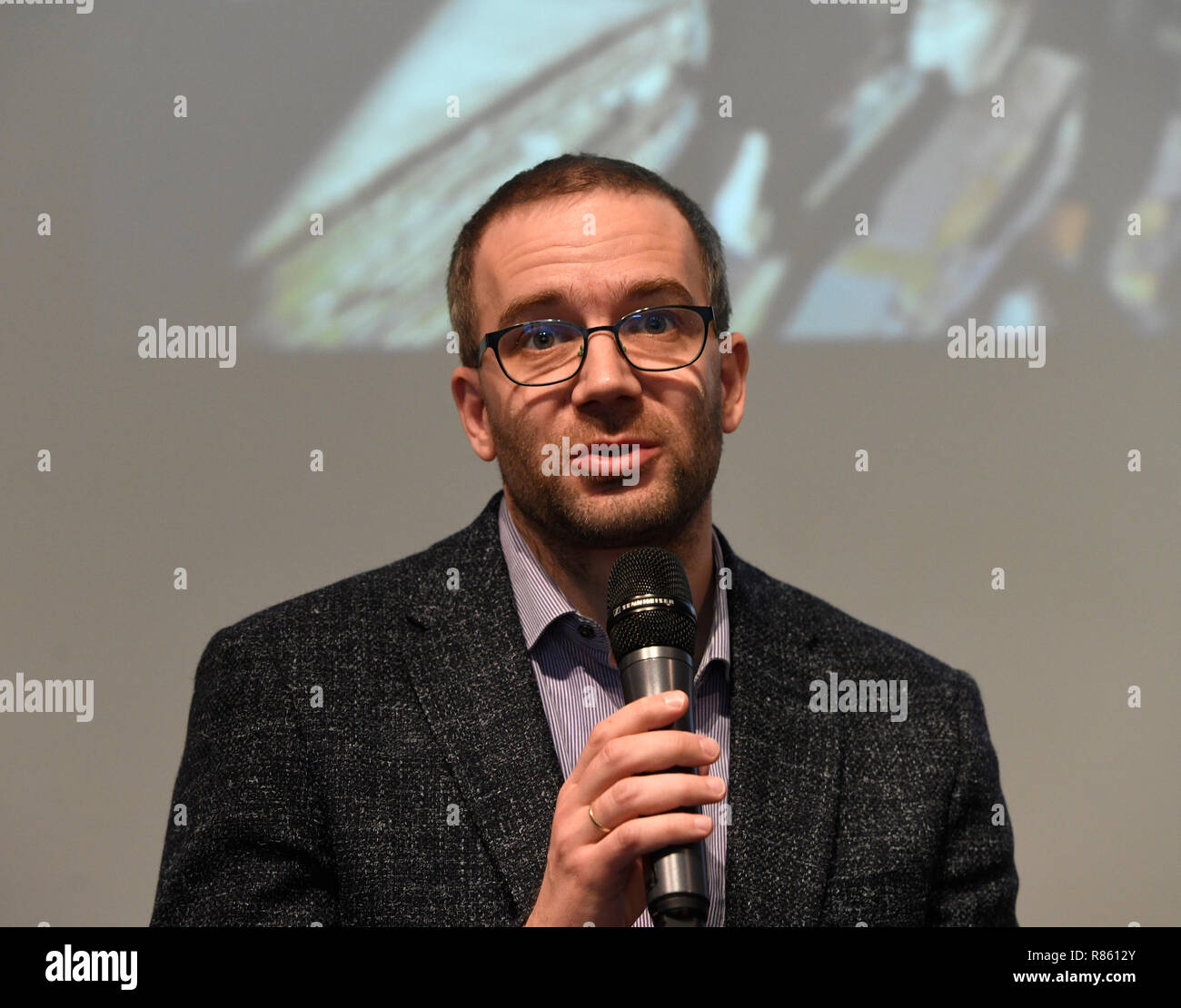 Prague, Czech Republic. 13th Dec, 2018. The results of six months of work of Ukrainian, Czech, Slovak and Polish journalists with declassified documents of KGB and other Soviet and communist services were presented in Prague, Czech Republic, December 13, 2018. The deputy director of the Institute for the Study of Totalitarian Regimes Ondrej Matejka speaks during the session. Credit: Michal Krumphanzl/CTK Photo/Alamy Live News - Stock Image