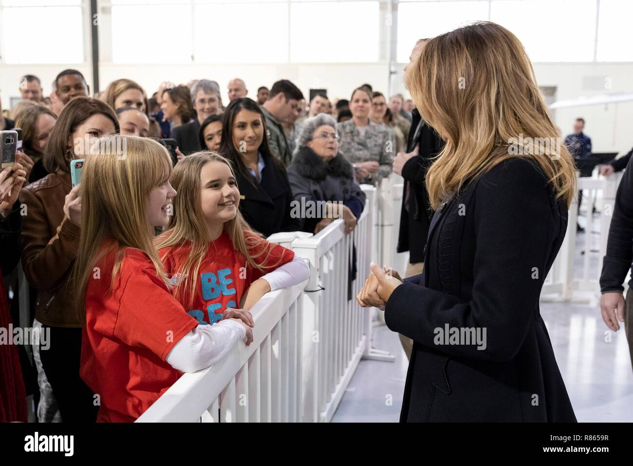 U.S. First Lady Melania Trump greets children of service members during a holiday visit to Hangar 789 at Langley Air Force Base December 12, 2018 in Hampton, Virginia. - Stock Image