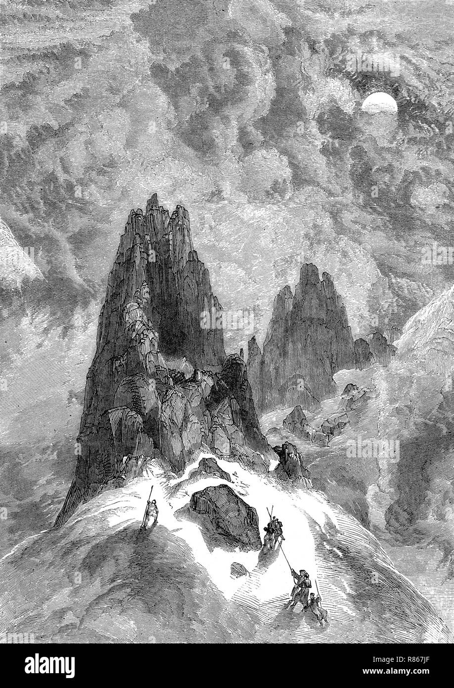 Digital improved reproduction, climbing on Montblanc mountain, France, Bergsteiger am Montblanc, Frankreich, from an original print from the year 1855 Stock Photo