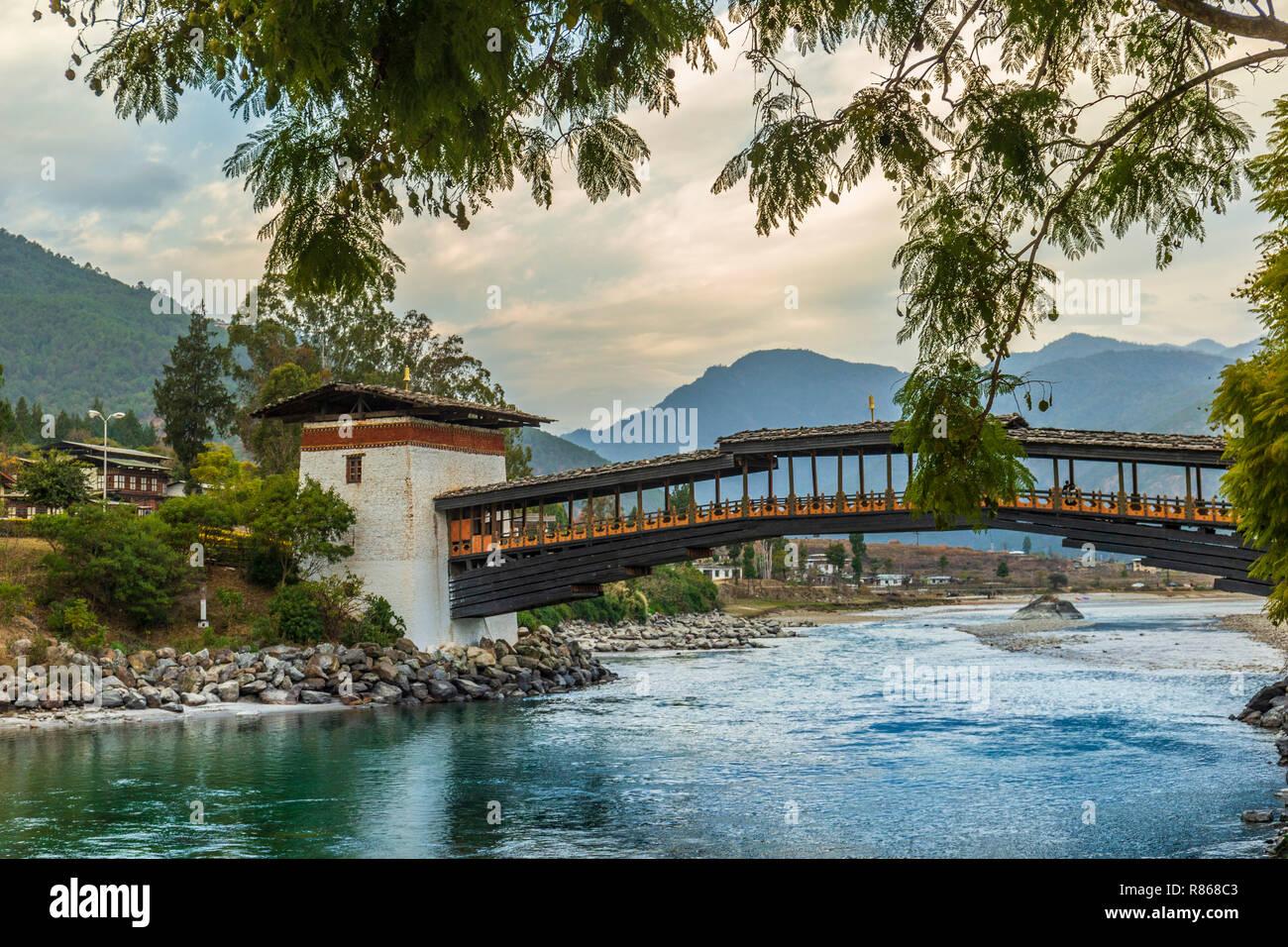 Bridge leading to Punakha dzong - Stock Image