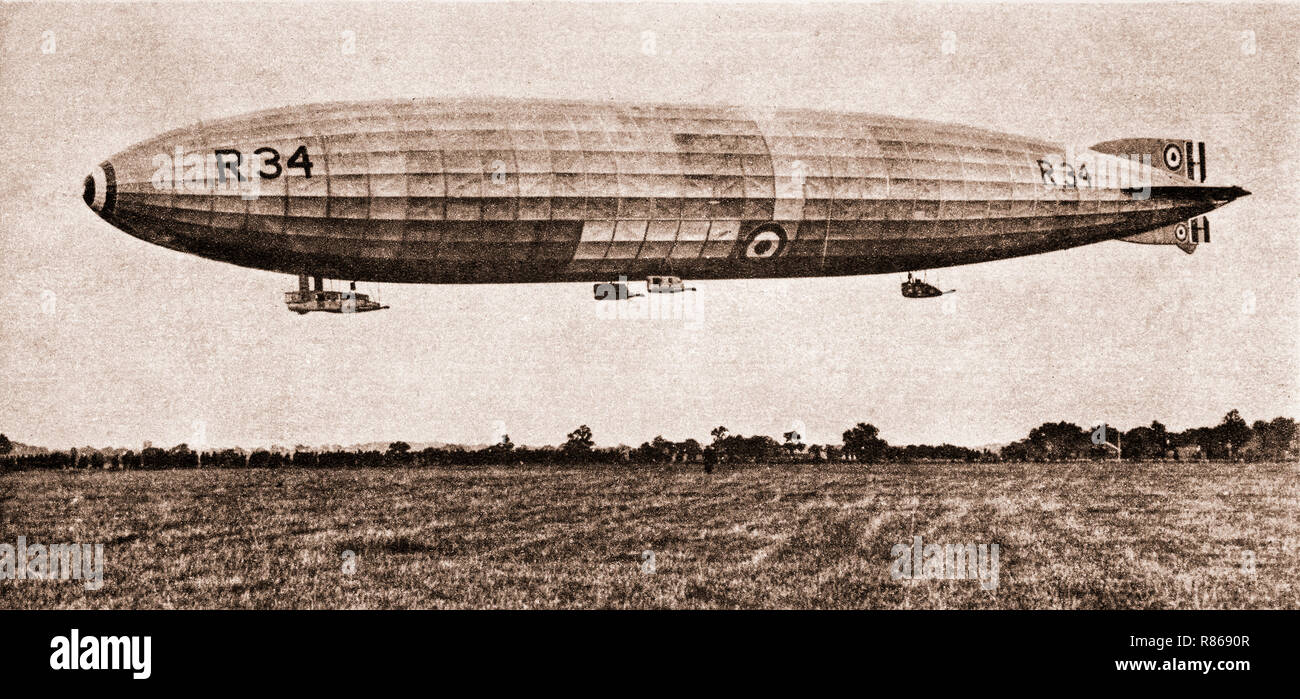 The R33 class of British rigid airships were built for the Royal Naval Air Service during the First World War, but were not completed until after the end of hostilities, by which time the RNAS had become part of the Royal Air Force. The lead ship, R33, went on to serve successfully for ten years. the later R34, became the first aircraft to make an east to west transatlantic flight in July 1919 and by the return flight, completed successfully the first two-way crossing, and was decommissioned two years later after being damaged during a storm. - Stock Image