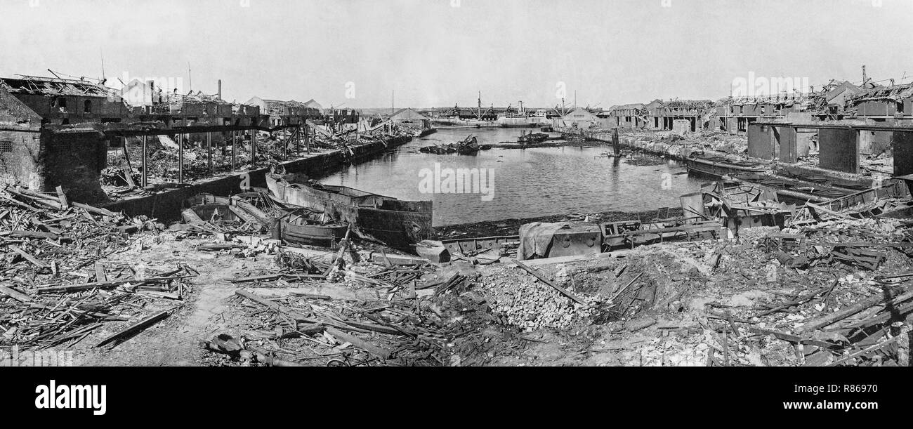The destroyed Huskisson Dock No 2, following the  explosion of  1,000 tons of shells and bombs in the hold  of the merchant ship, 'Malakand' on 2nd May, 1940 during the Blitz by the Luftwaffe in World War Two, Liverpool, Merseyside, England. - Stock Image