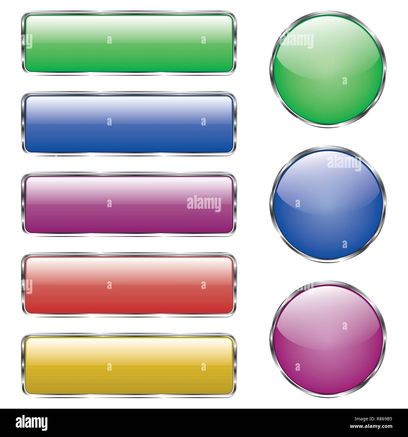 Set of colored shiny web glass button with reflection Stock