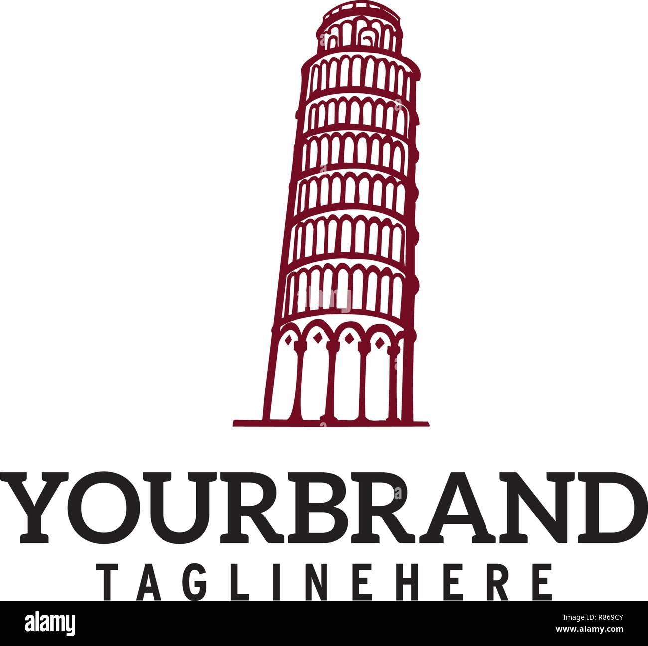 Tower of Pisa vector logo design - Stock Vector