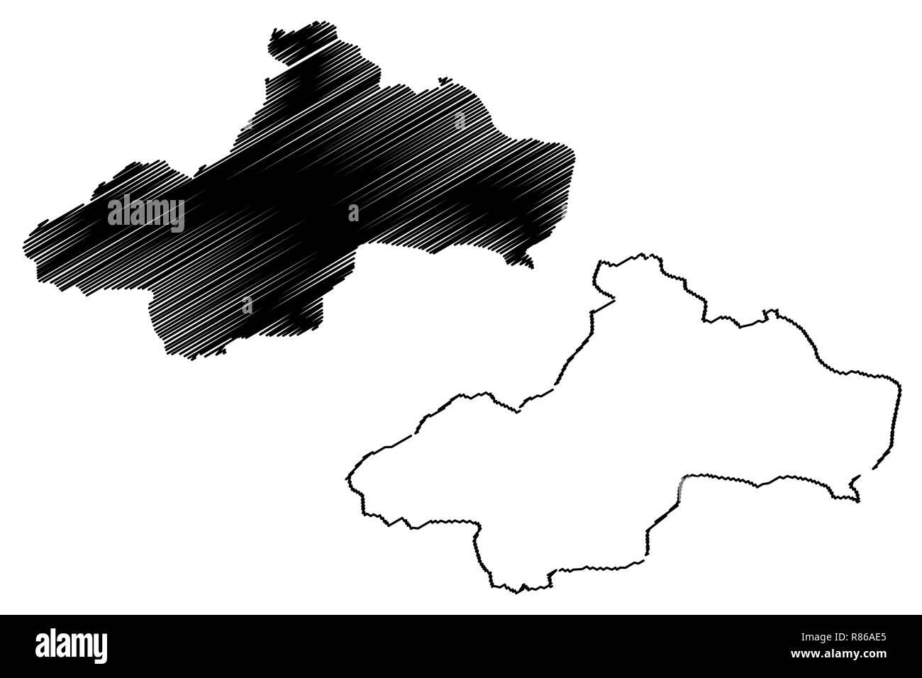 Tokat (Provinces of the Republic of Turkey) map vector illustration, scribble sketch Tokat ili map - Stock Image