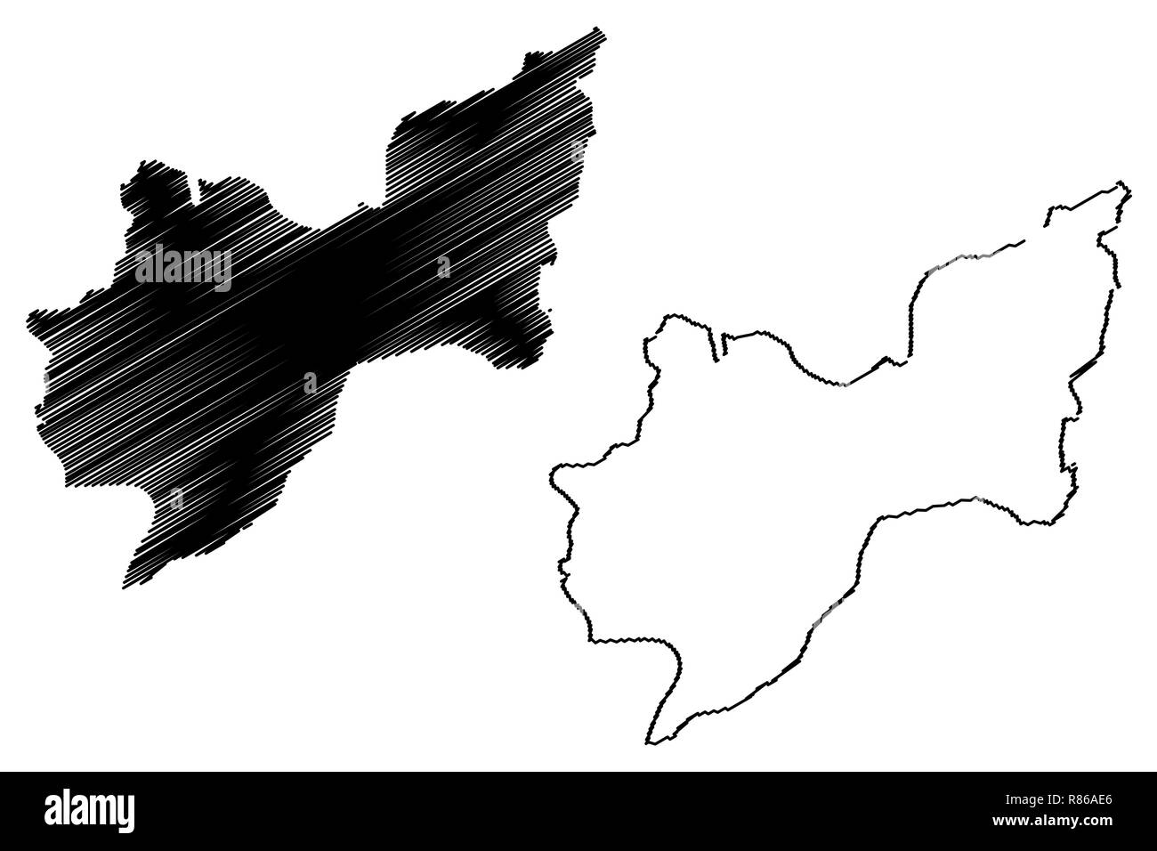 Tekirdag (Provinces of the Republic of Turkey) map vector illustration, scribble sketch Tekirdag ili map - Stock Image