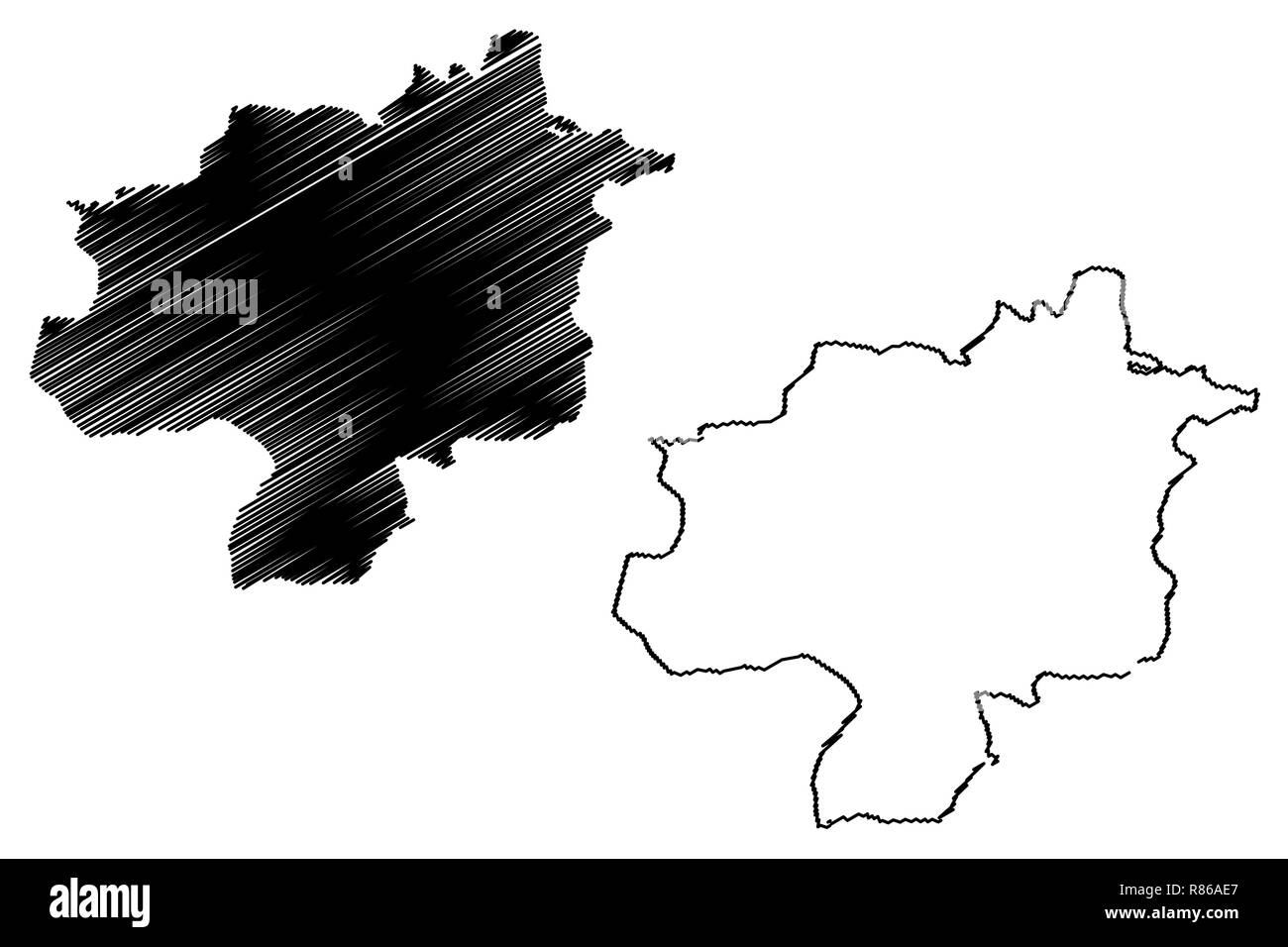 Sivas (Provinces of the Republic of Turkey) map vector illustration, scribble sketch Sivas ili map - Stock Image
