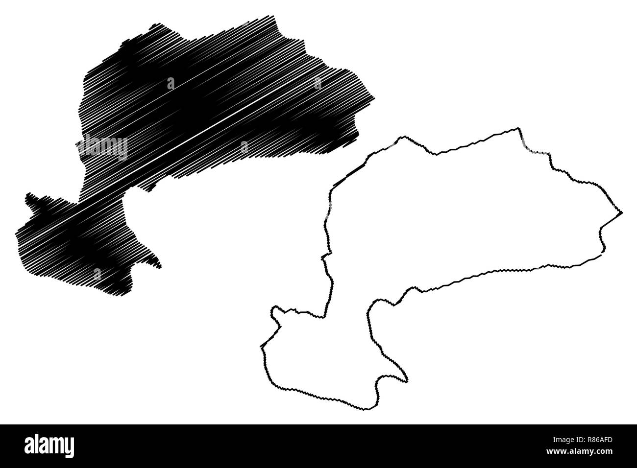 Karaman (Provinces of the Republic of Turkey) map vector illustration, scribble sketch Karaman ili map - Stock Image