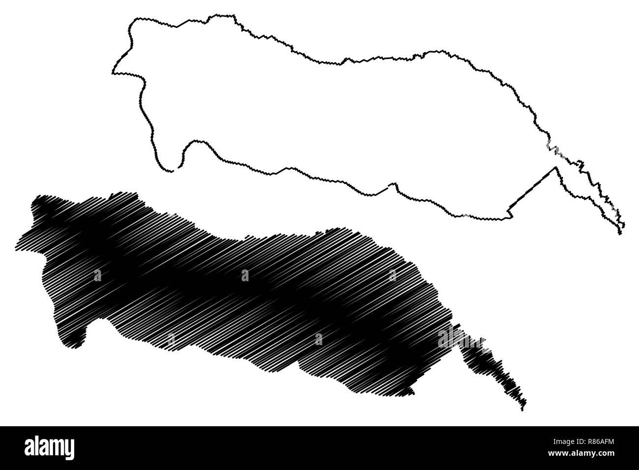 Igdir (Provinces of the Republic of Turkey) map vector illustration, scribble sketch Igdir ili map - Stock Image