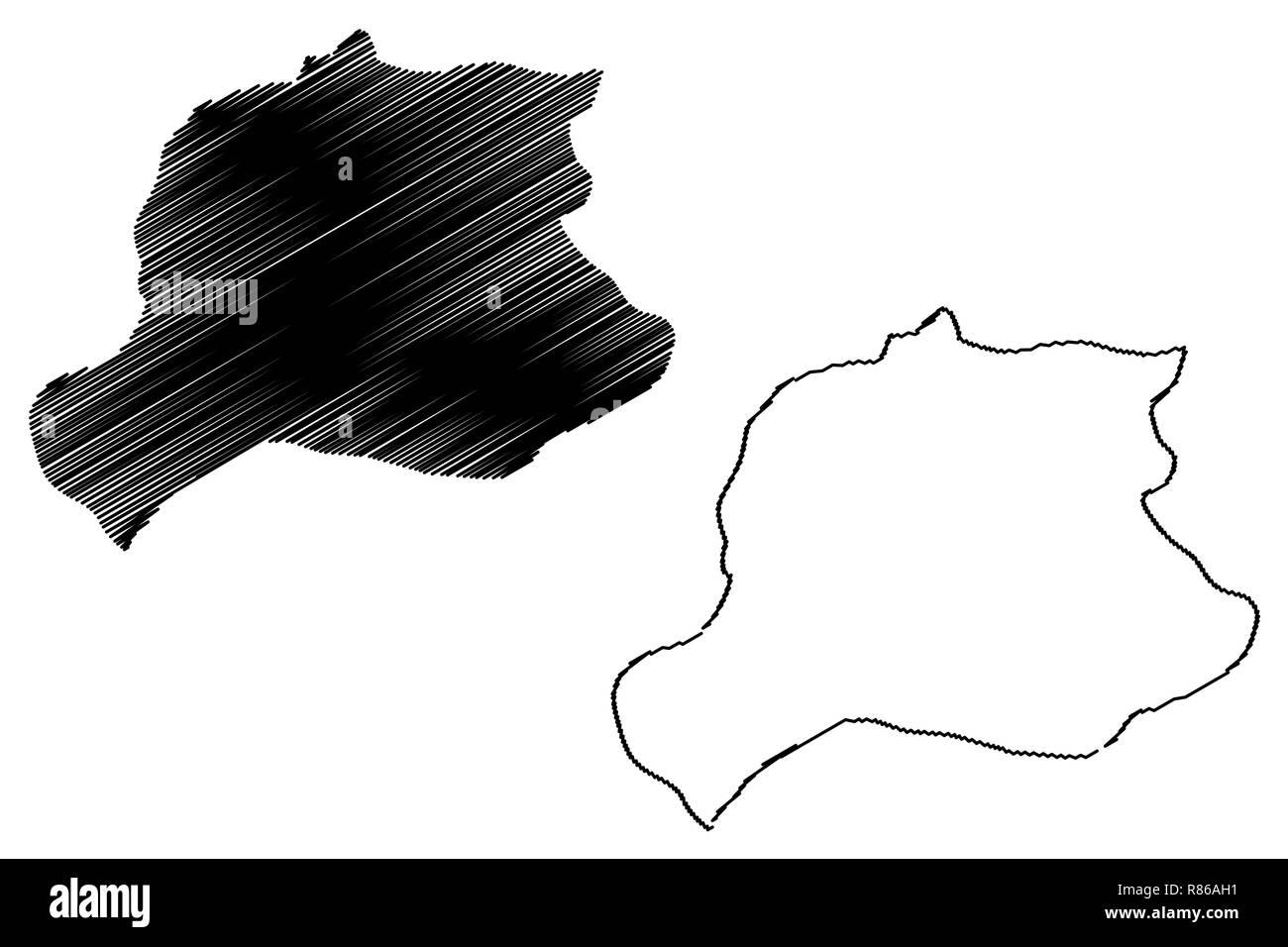Bayburt (Provinces of the Republic of Turkey) map vector illustration, scribble sketch Bayburt ili map - Stock Image