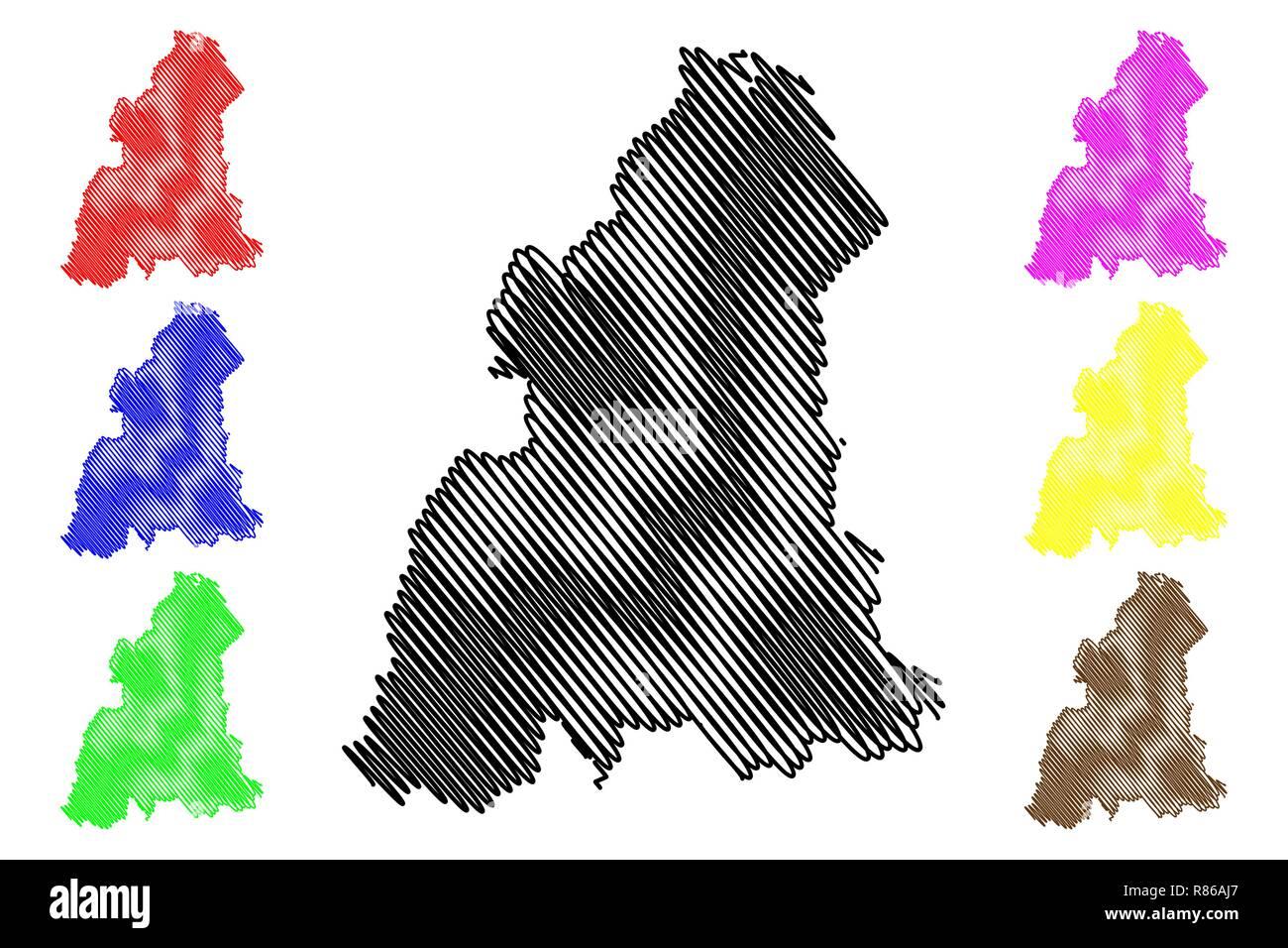 Kelantan (States and federal territories of Malaysia, Federation of Malaysia) map vector illustration, scribble sketch Kelantan Darul Naim map - Stock Vector