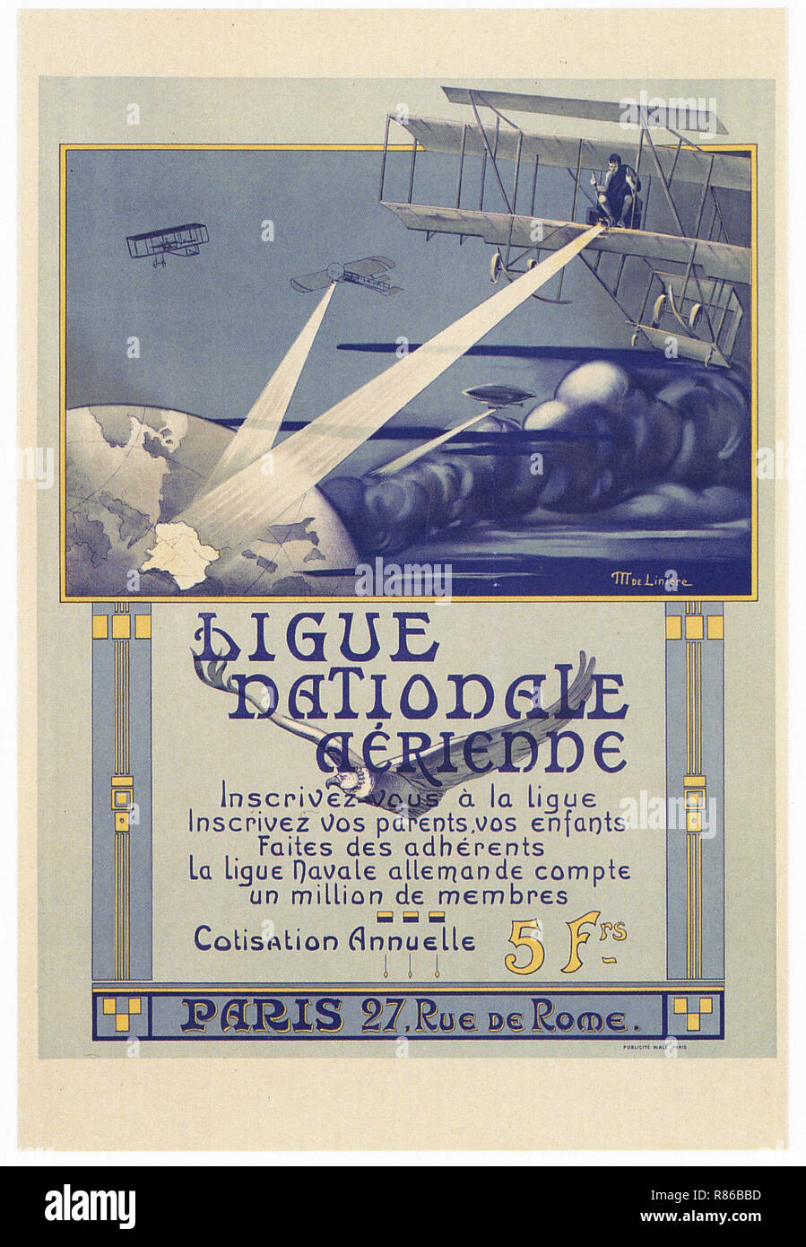 Ligue Nationale Aerienne 1908 - Vintage advertising poster - Stock Image
