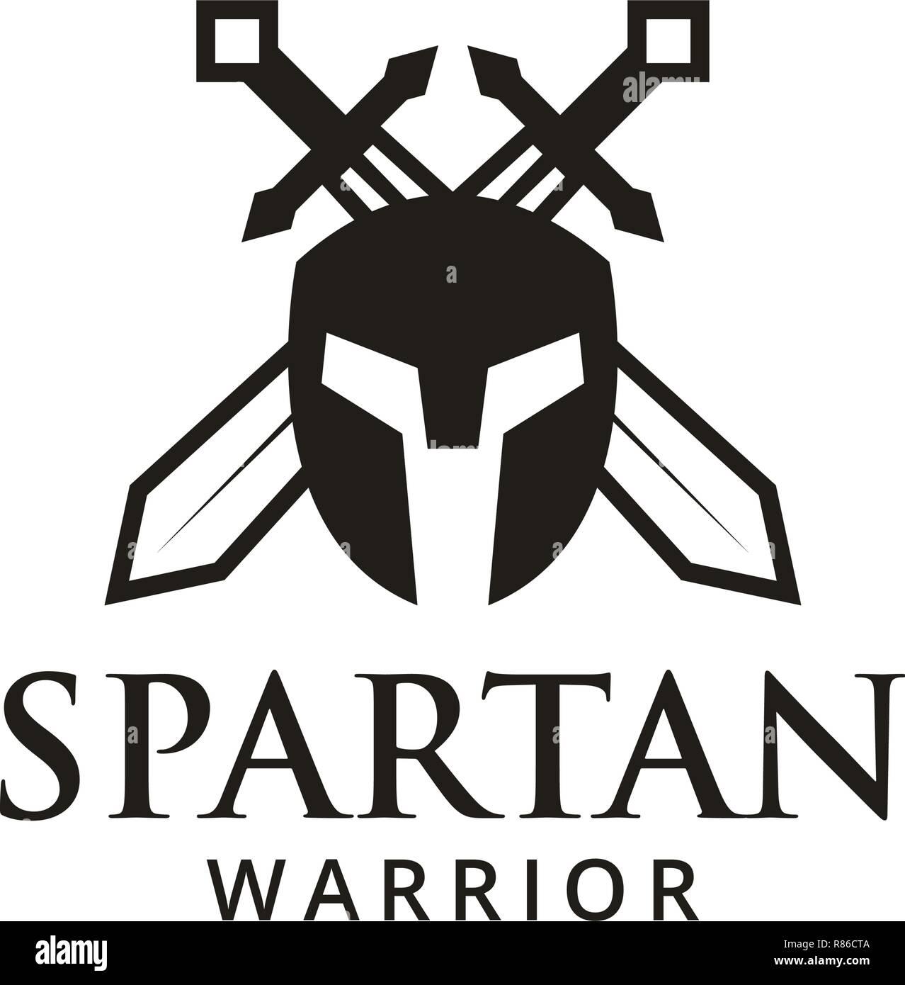 03ce0325bbd92 Spartan warrior logo design template vector illustration Stock ...