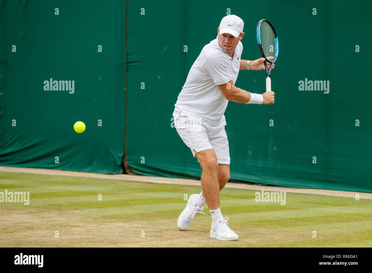 Tennis commentator Mark Petchey during the Wimbledon Championships 2019 - Stock Image