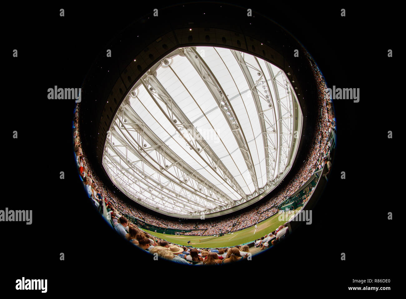 General wide view of Novak Djokovic of Serbia and Rafa Nadal of Spain on Centre Court during the Wimbledon Championships 2019 - Stock Image