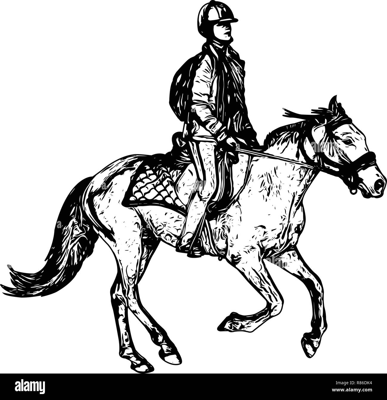 Horse Riding Sketch Drawing Vector Stock Vector Image Art Alamy