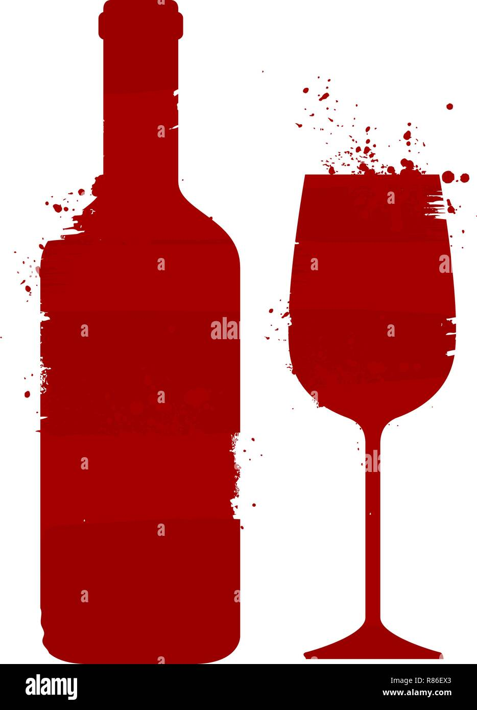 Wine bottle and glass. Alcoholic drink. Abstract vector illustration Stock Vector