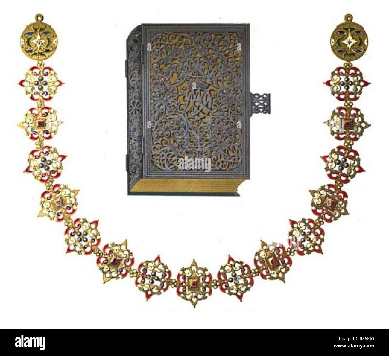 Canonical Hours and a necklace. - Stock Image