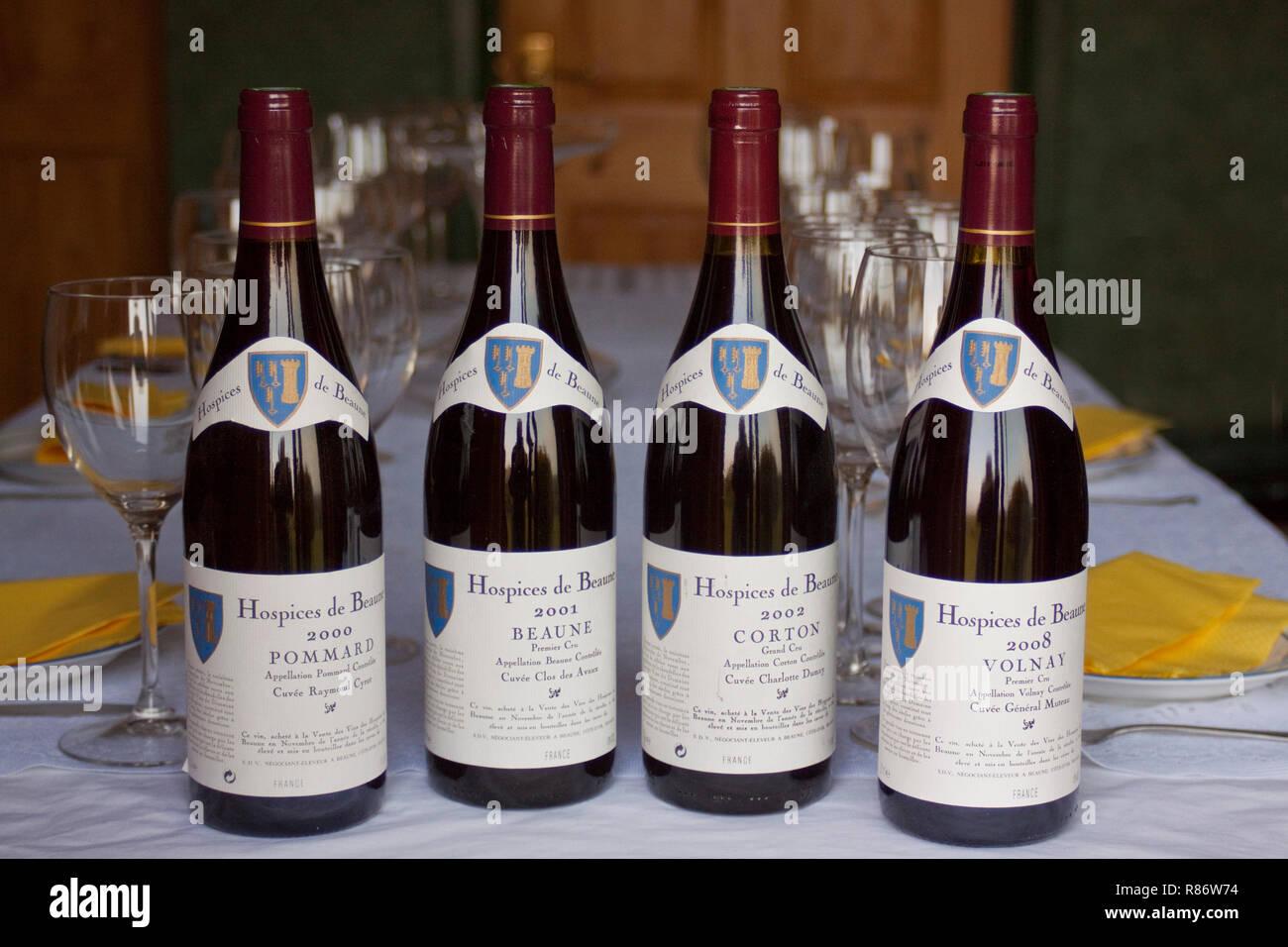 Hospices de Beaune bottle Burgundy wine - Stock Image