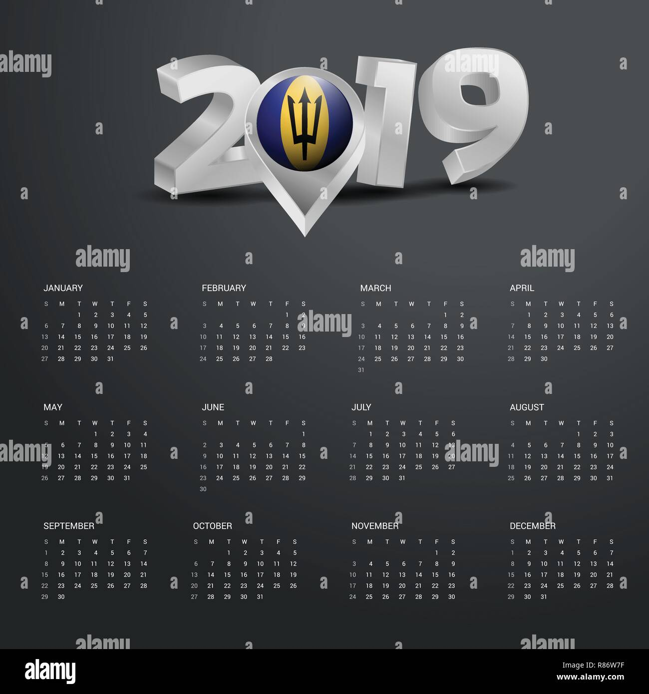 2019 Calendar Template. Grey Typography with Barbados Country Map Golden Typography Header - Stock Vector
