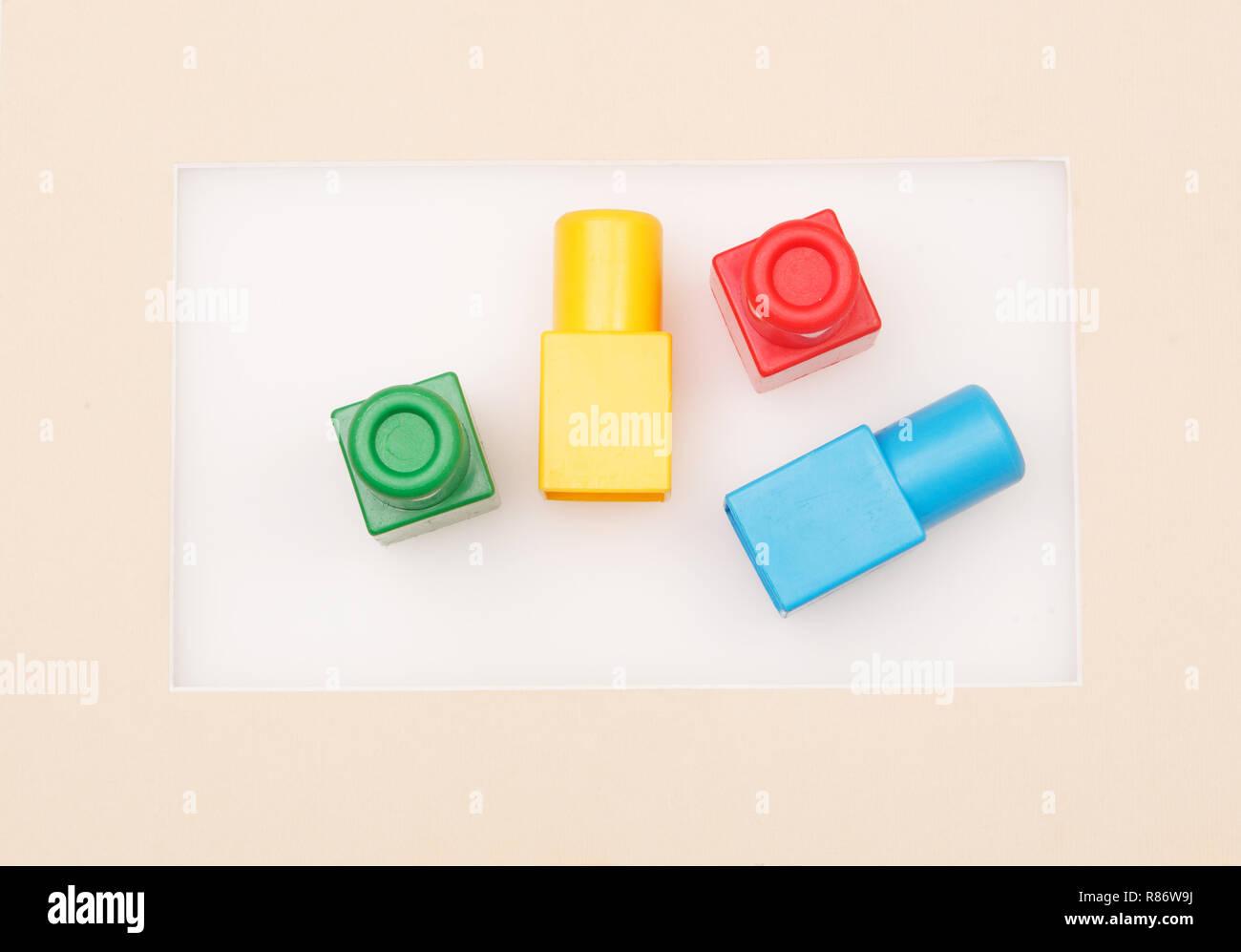Plastic building blocks in the frame Stock Photo: 228803614 - Alamy