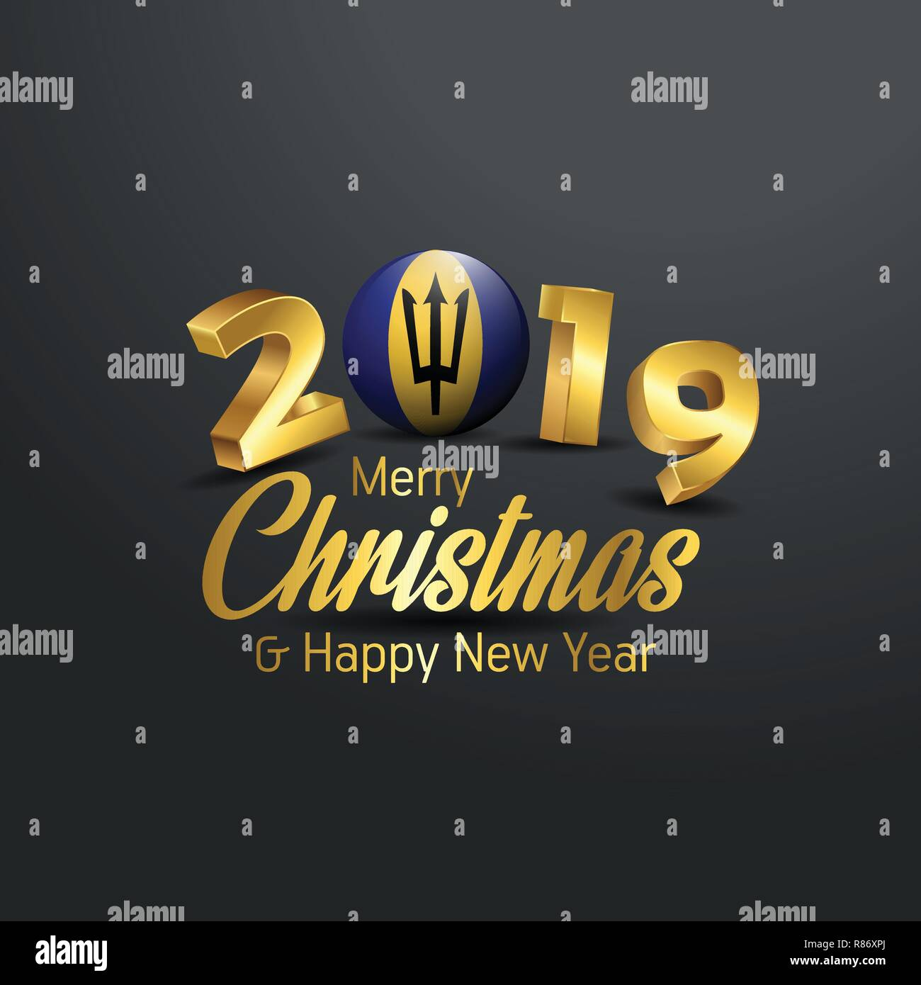 Barbados Flag 2019 Merry Christmas Typography. New Year Abstract Celebration background Stock Vector