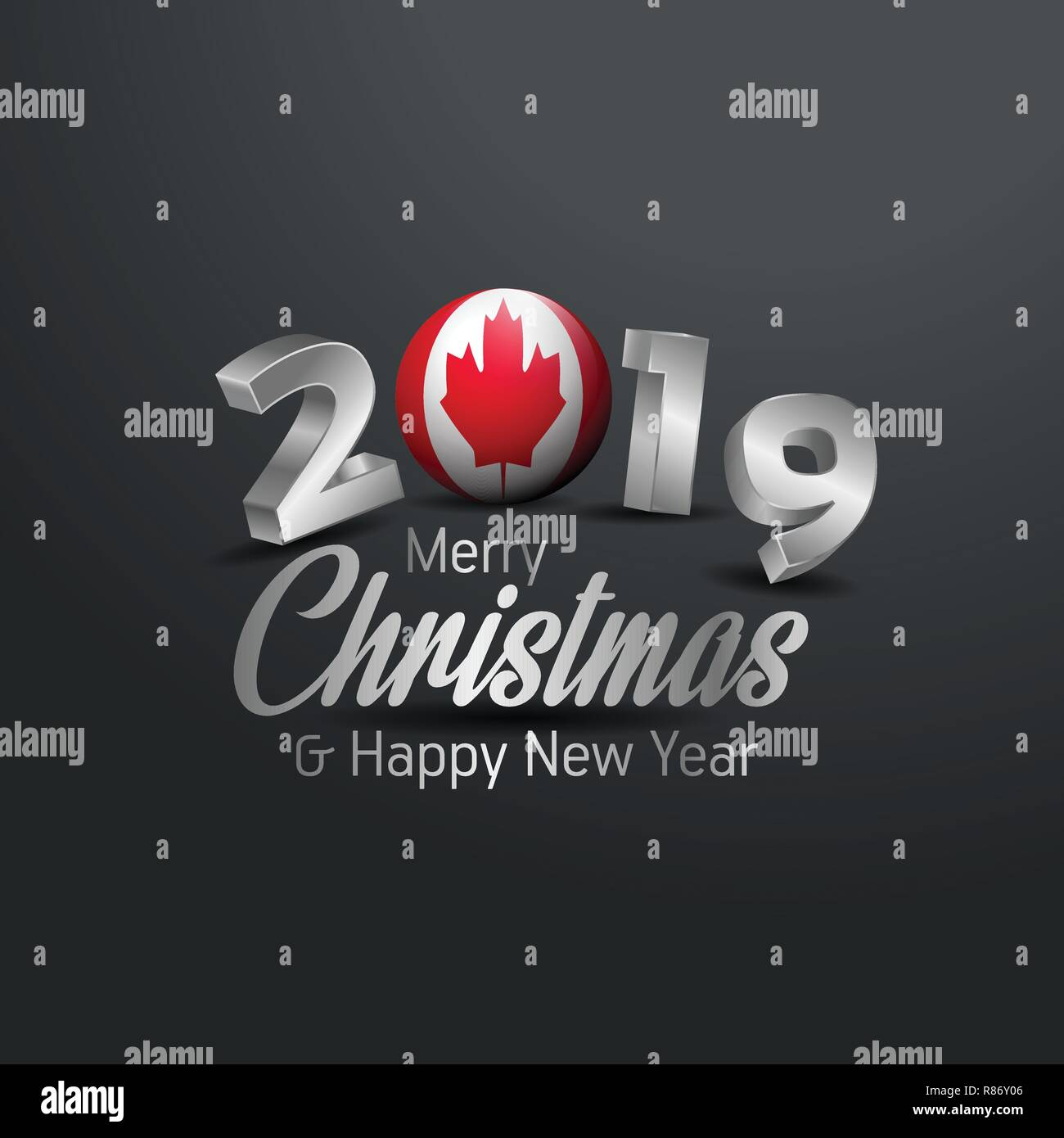 Christmas In Canada 2019 Canada Flag 2019 Merry Christmas Typography. New Year Abstract