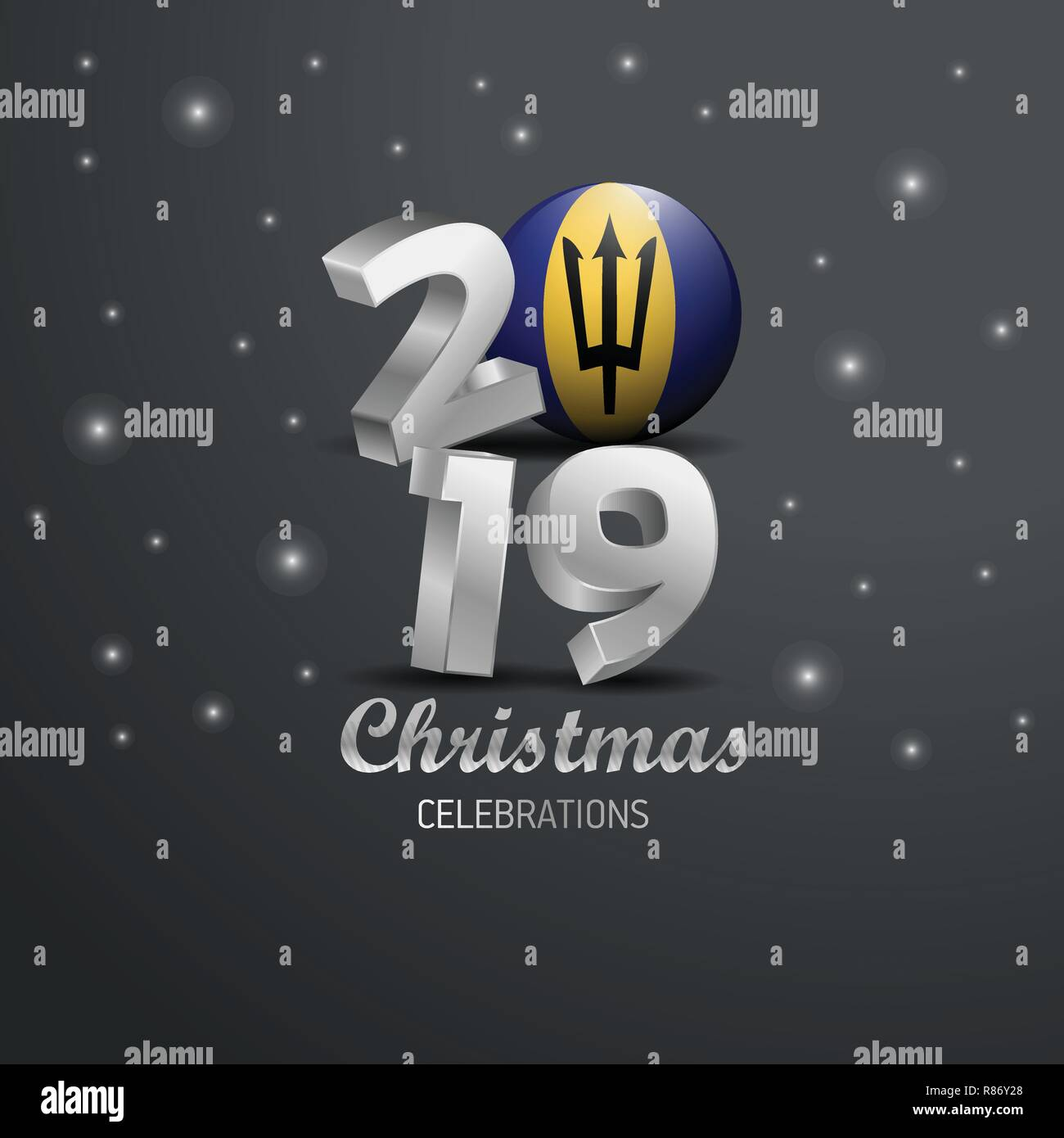 Barbados Flag 2019 Merry Christmas Typography. New Year Abstract Celebration background - Stock Vector
