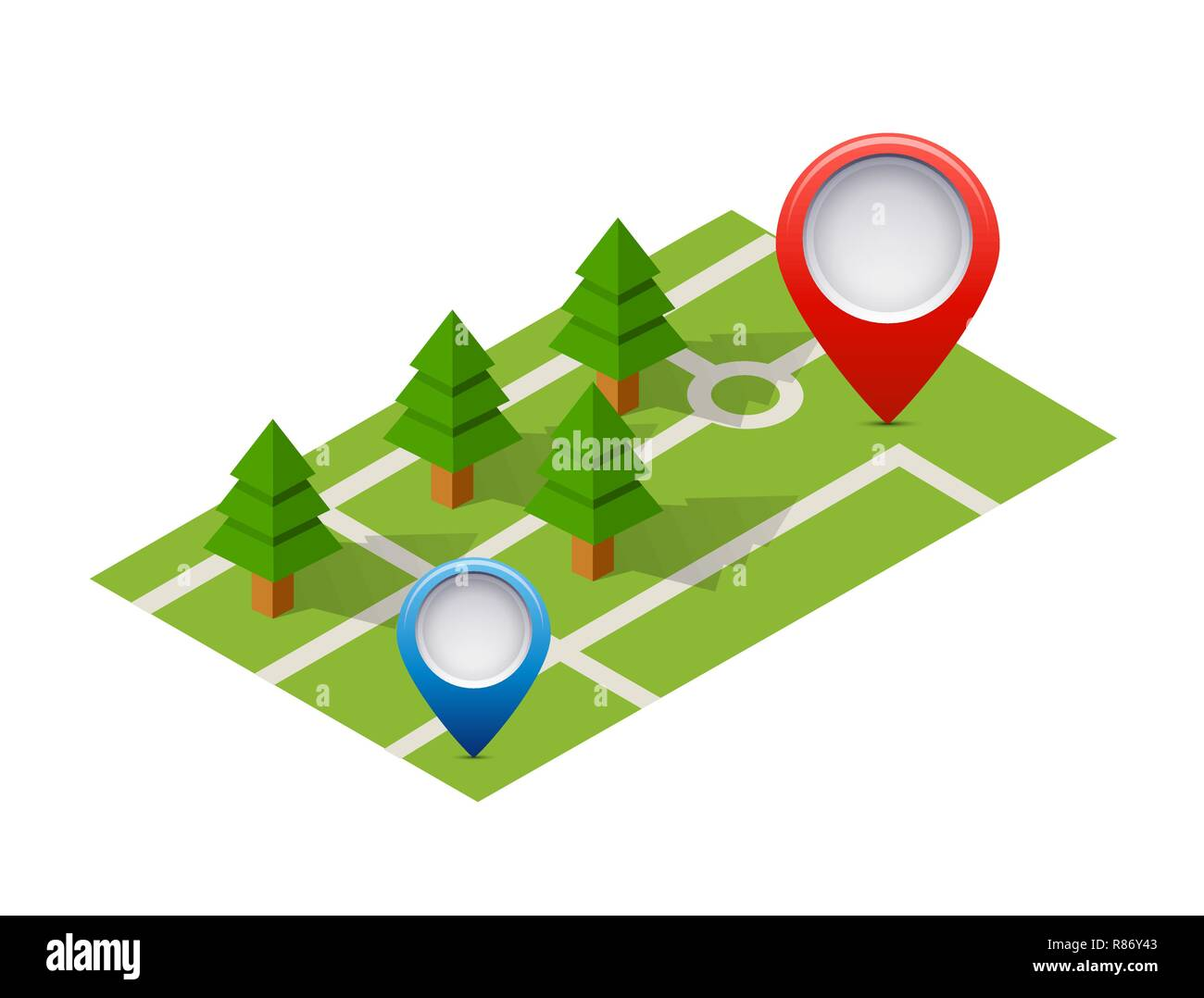Isometric pin icon on the navigation map for positioning travel and transport Stock Vector