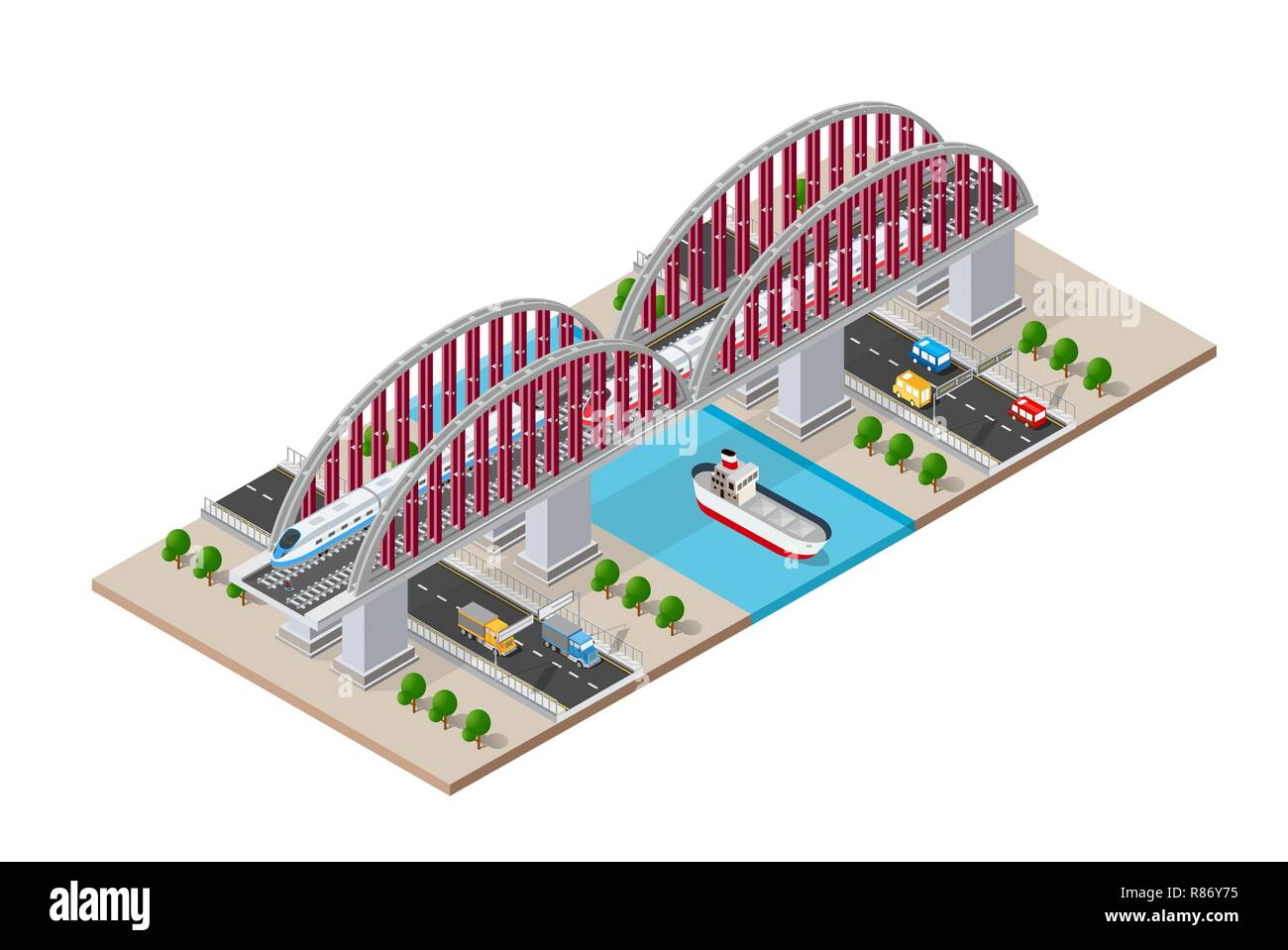 Railroad isometric bridge with railway and high-speed train by locomotive. Elements of urban transport transportation infrastructure Stock Vector