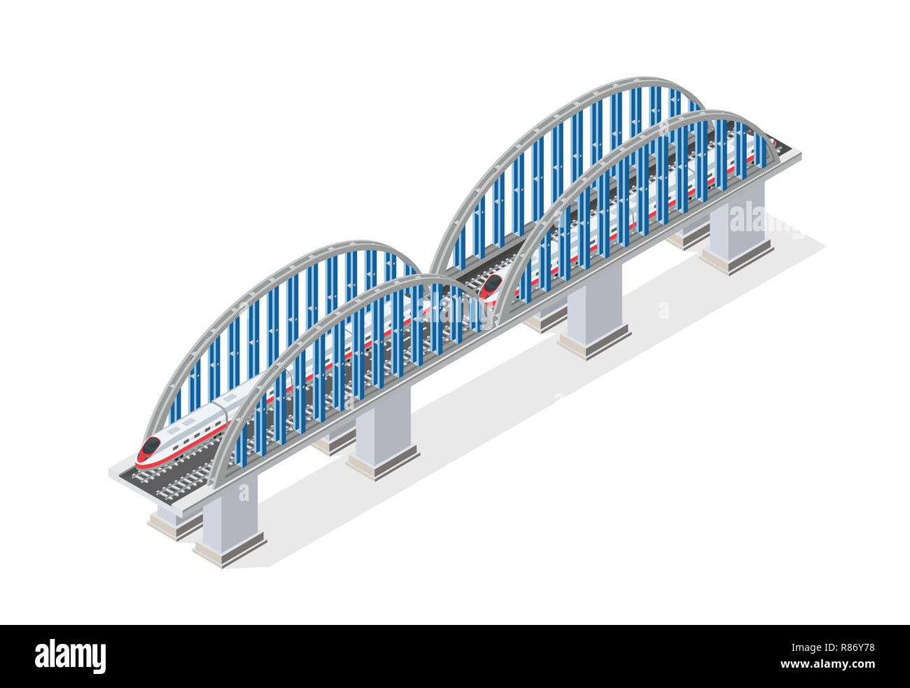 Railroad isometric bridge with railway and high-speed train by locomotive. Elements of urban transport transportation infrastructure - Stock Vector