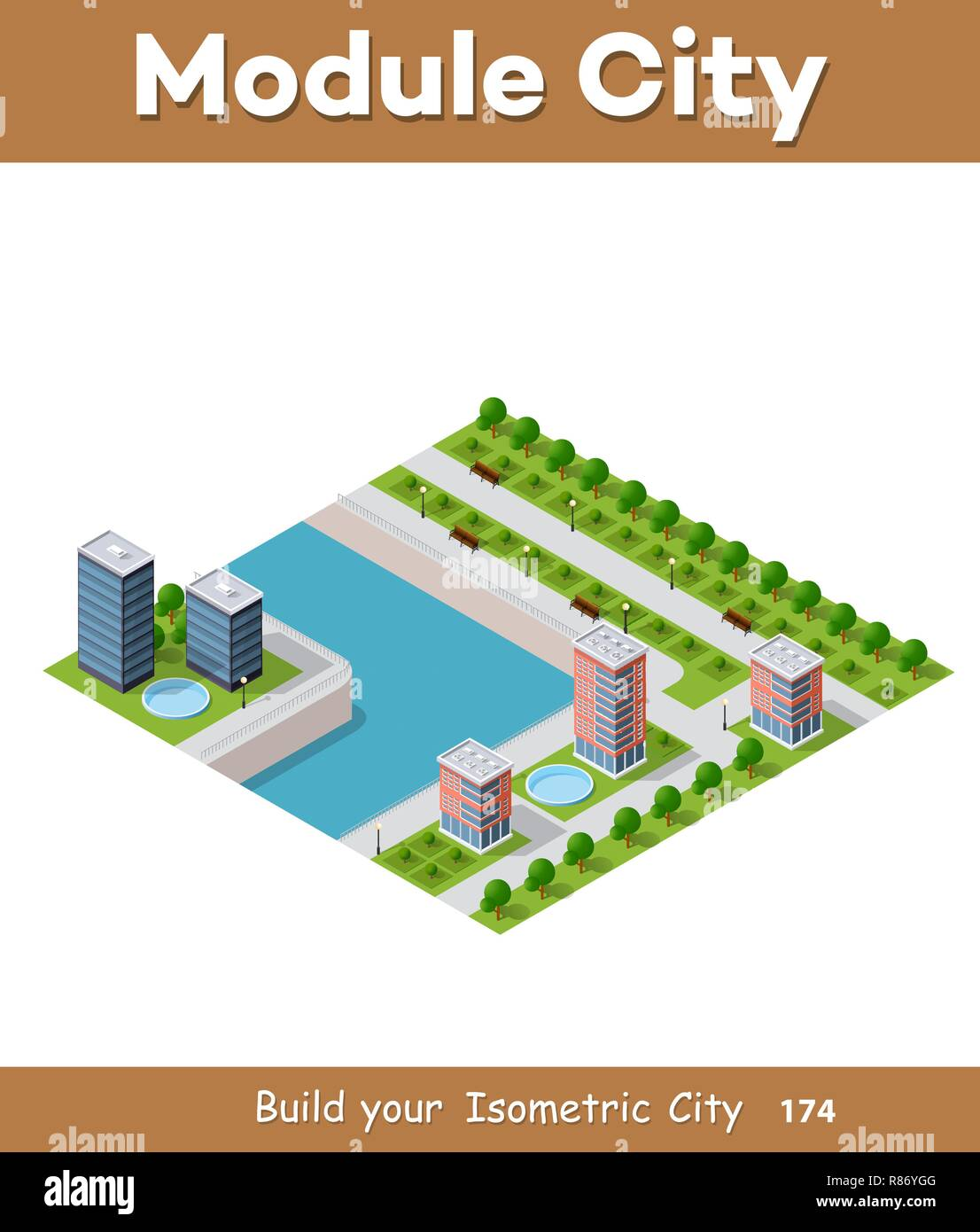 Isometric vector illustration of a modern city with a marina and river embankment. Dimensions of skyscrapers, houses, buildings and urban areas with t - Stock Vector