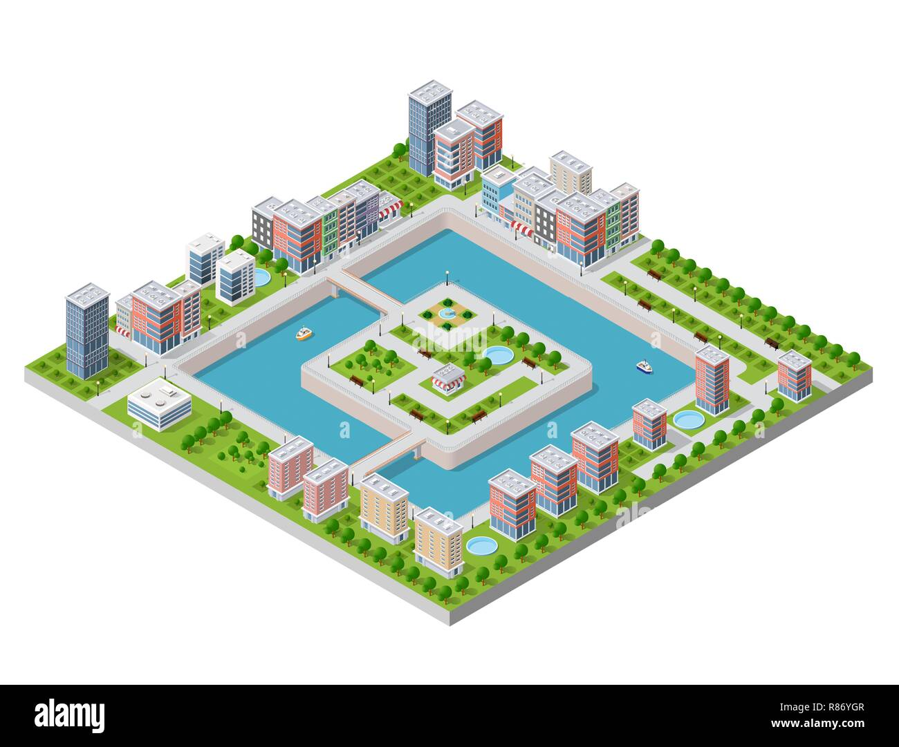 Isometric vector illustration of a modern city with a marina and river embankment. Dimensions of skyscrapers, houses, buildings and urban areas parks  - Stock Vector