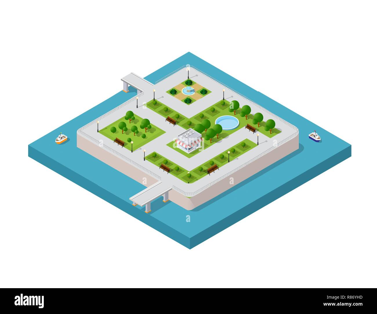 Isometric vector illustration of a modern city with a marina and river embankment. Water park on the island - Stock Image