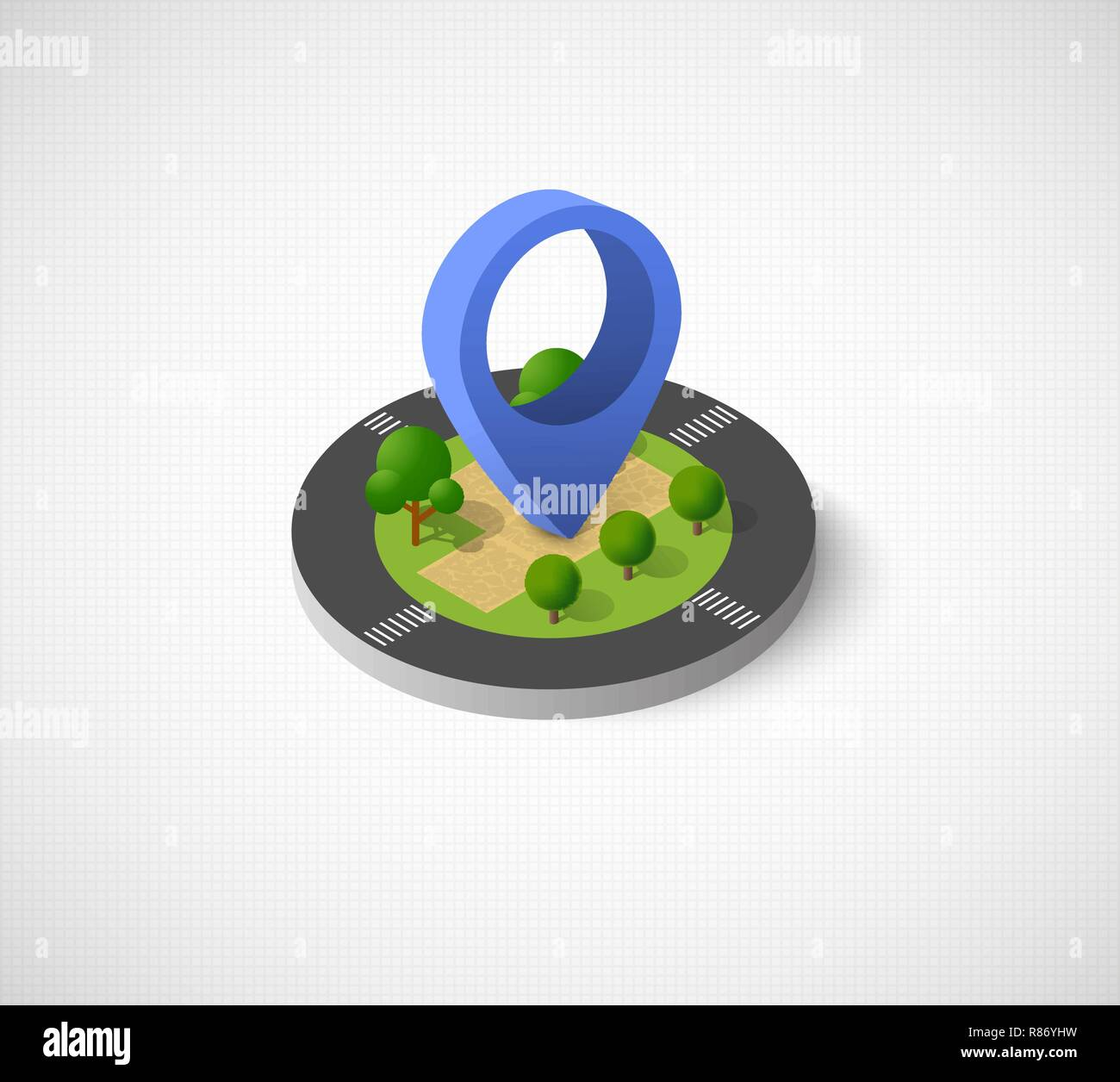 Isometric vector icon illustration of a modern city dimensional views of a town with direction indicator - Stock Vector
