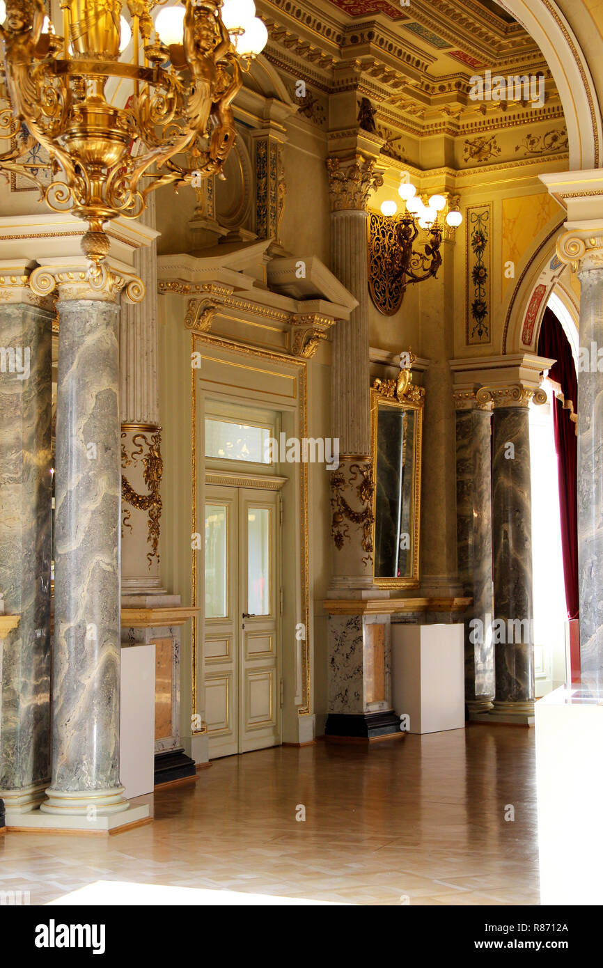 view at the interior inside the semperoper dresden germany photographed during a guide tour - Stock Image