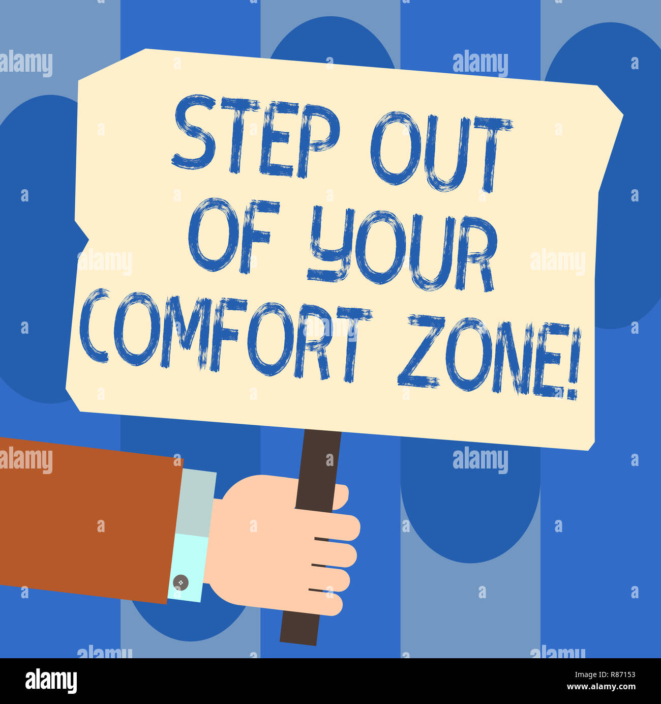 Writing note showing Step Out Of Your Comfort Zone. Business photo showcasing Do different things leave the routine Hu analysis Hand Holding Colored P Stock Photo