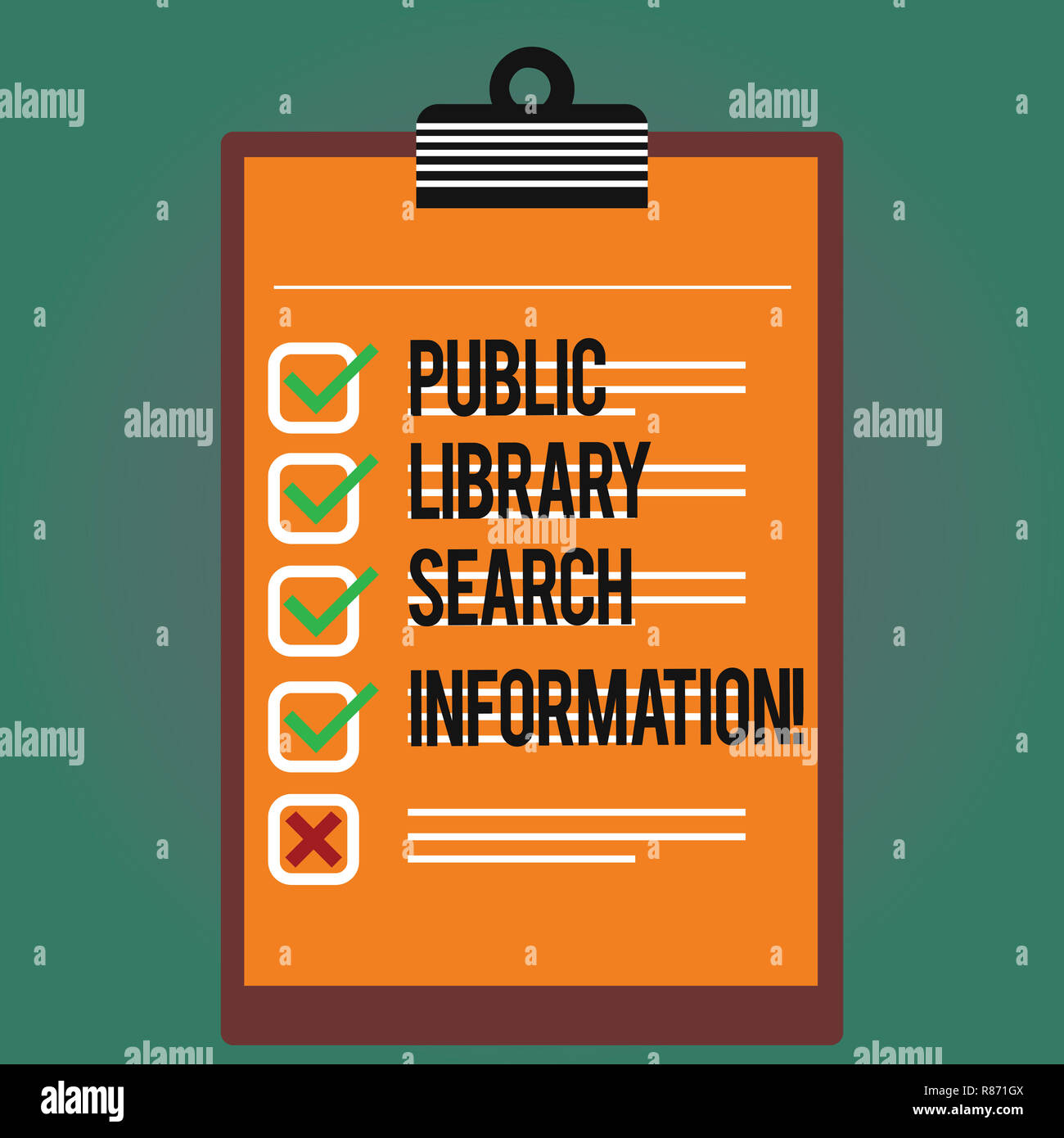 Text sign showing Public Library Search Information. Conceptual photo Researching project investigation Lined Color Vertical Clipboard with Check Box  - Stock Image