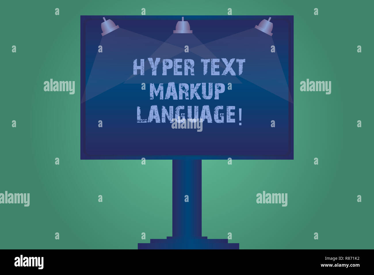 Handwriting Text Hyper Text Markup Language. Concept Meaning Standard  Languages For The Creation Of Websites Blank Lamp Lighted Color Signage  Outdoor