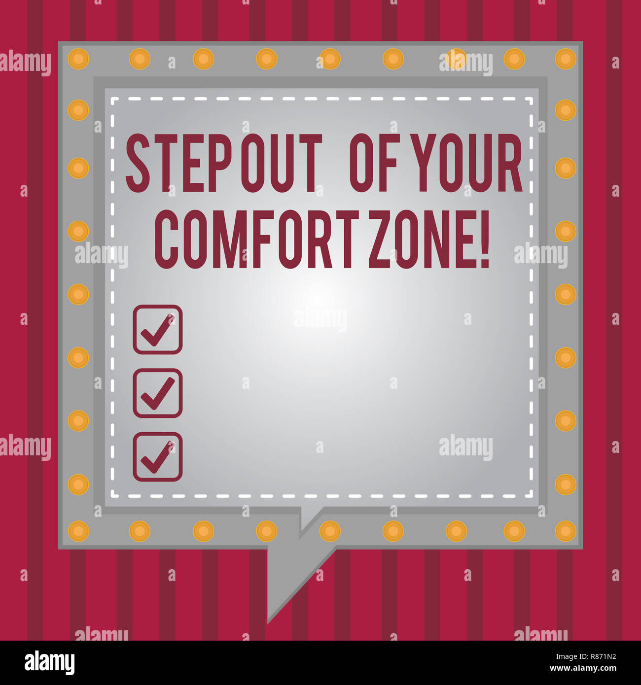 Word writing text Step Out Of Your Comfort Zone. Business concept for Do different things leave the routine Square Speech Bubbles Inside Another with  Stock Photo