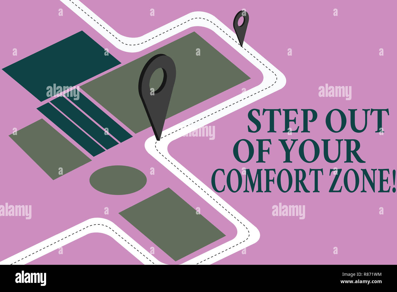 Conceptual hand writing showing Step Out Of Your Comfort Zone. Business photo showcasing Do different things leave the routine Road Map Navigation Mar Stock Photo